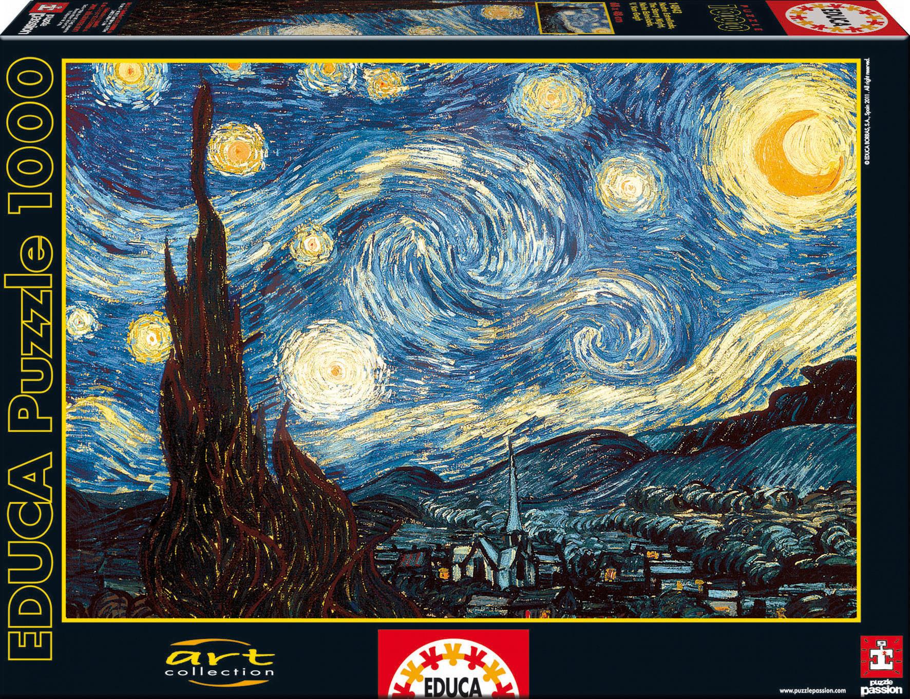 Staré položky - Puzzle Van Gogh Educa 1000 dílků a FIX PUZZLE LEPIDLO