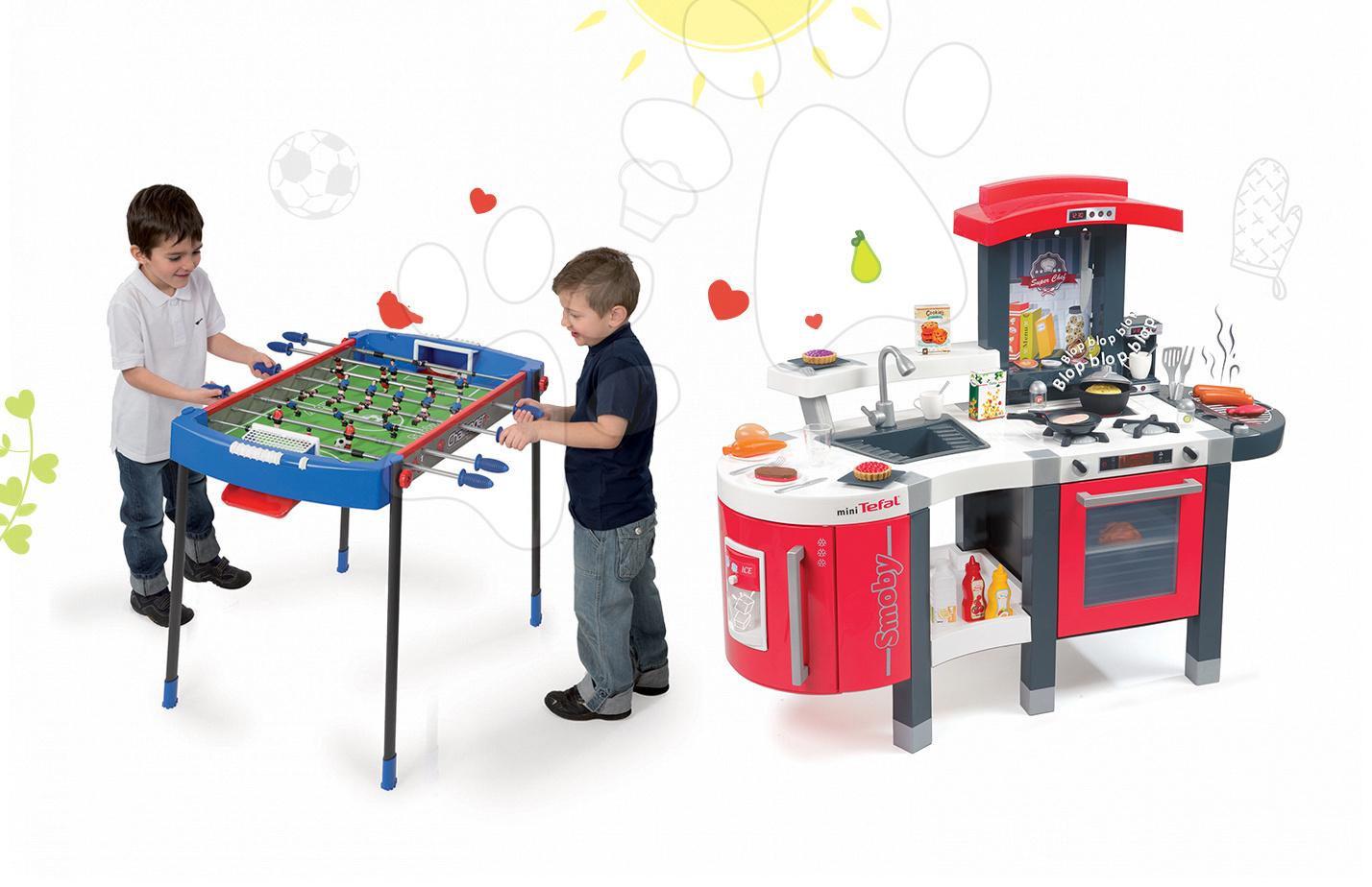 Set kuchyňka pro děti Tefal SuperChef Smoby s grilem a kávovarem a fotbalový stůl Challenger