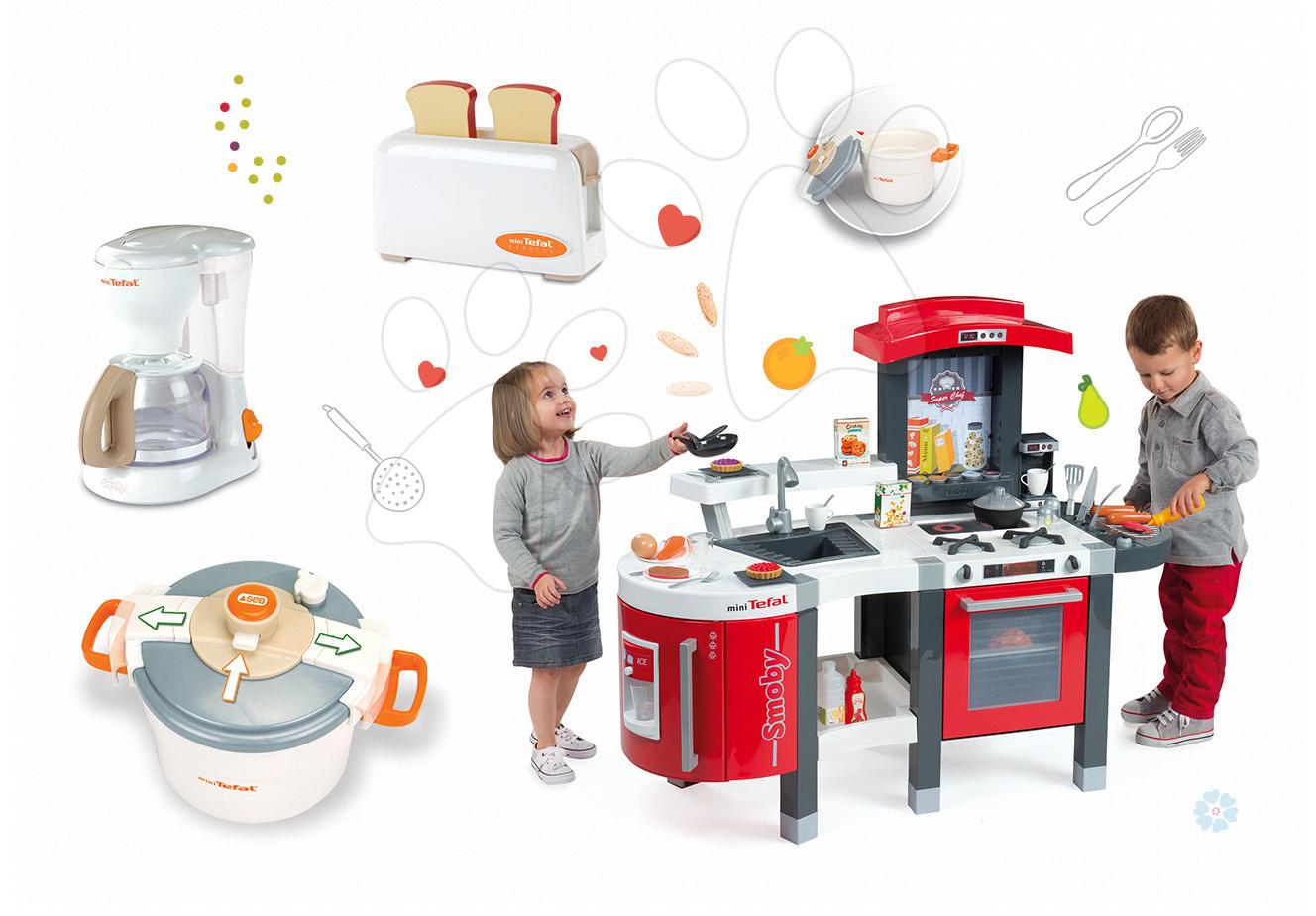 Set kuchyňka pro děti Tefal SuperChef Smoby s grilem a kávovarem a 3 kuchyňské spotřebiče Tefal