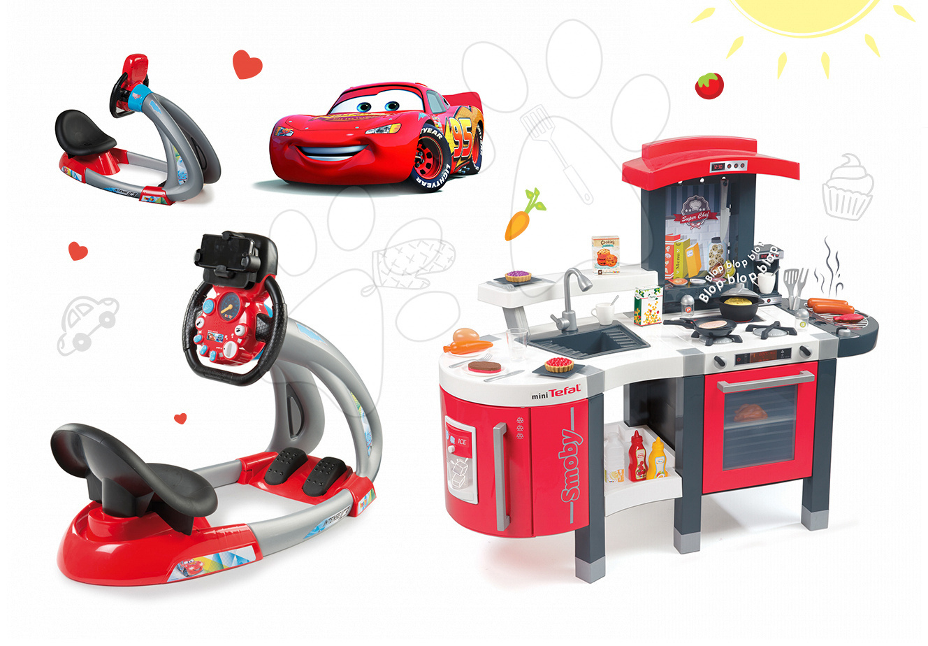 Set kuchyňka pro děti Tefal SuperChef Smoby s grilem a kávovarem a elektronický trenažér Auta Ice V8 Driver
