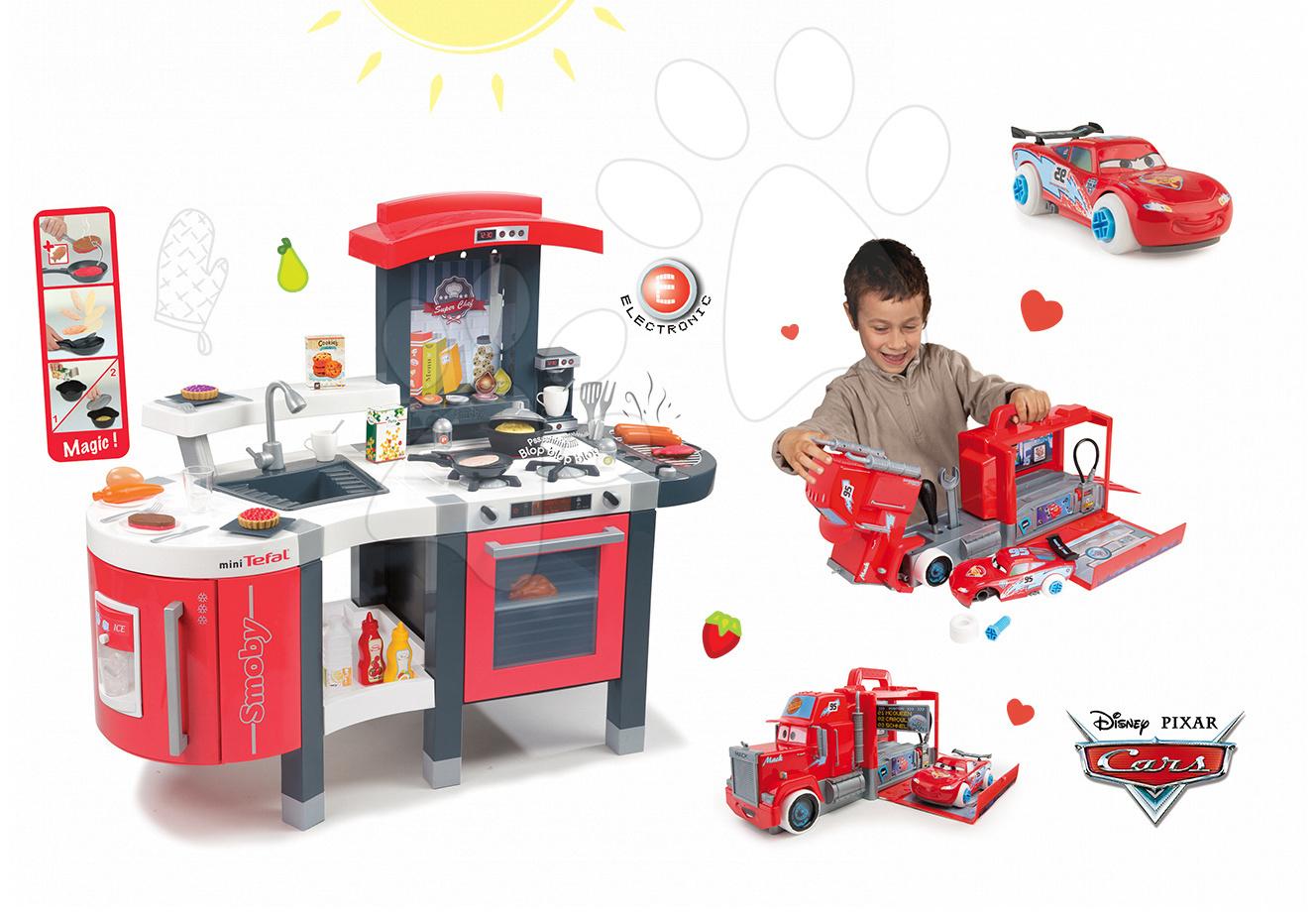 Set dětská kuchyňka Tefal SuperChef Smoby s grilem a kávovarem a elektronický kamion s autíčkem Auta Ice