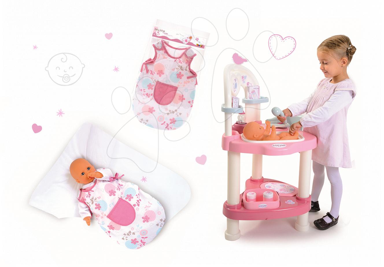 Domčeky pre bábiky sety - Set prebaľovací stôl pre bábiku Baby Nurse Srdiečko Smoby a nočný úbor pre 42 cm bábiku