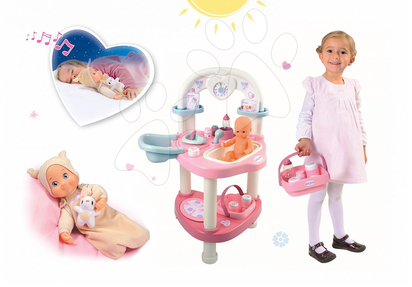 Domčeky pre bábiky sety - Set prebaľovací stôl pre bábiku Baby Nurse Srdiečko Smoby a bábika so zvukom MiniKiss do postieľky 27 cm