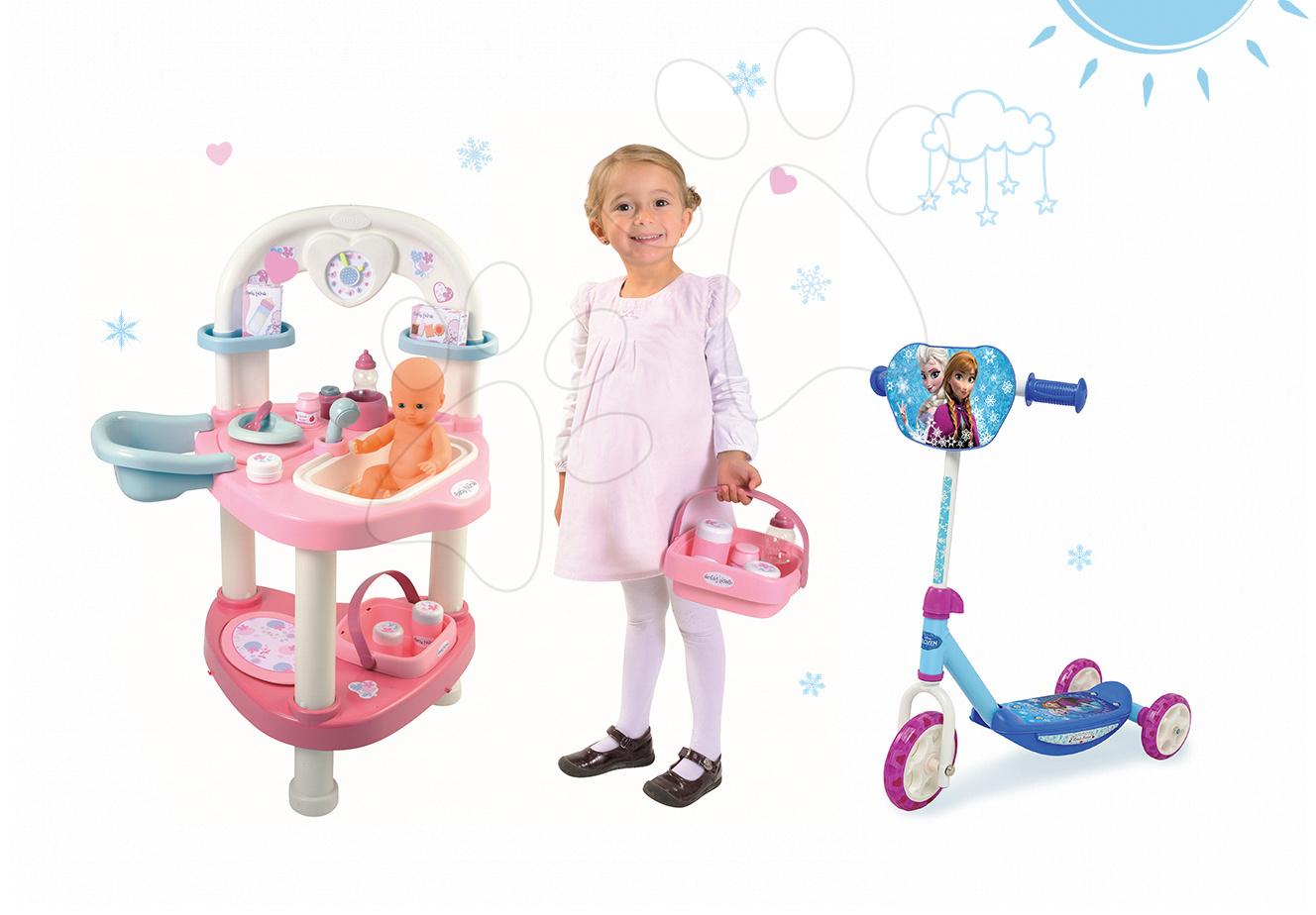 Domčeky pre bábiky sety - Set prebaľovací stôl pre bábiku Baby Nurse Srdiečko Smoby a trojkolesová kolobežka Frozen
