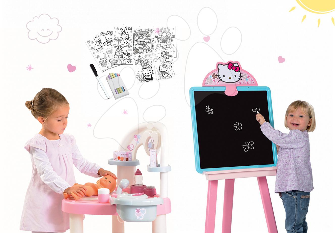 Set přebalovací stůl pro panenku Baby Nurse Srdíčko Smoby a magnetická oboustranná tabule s doplňky