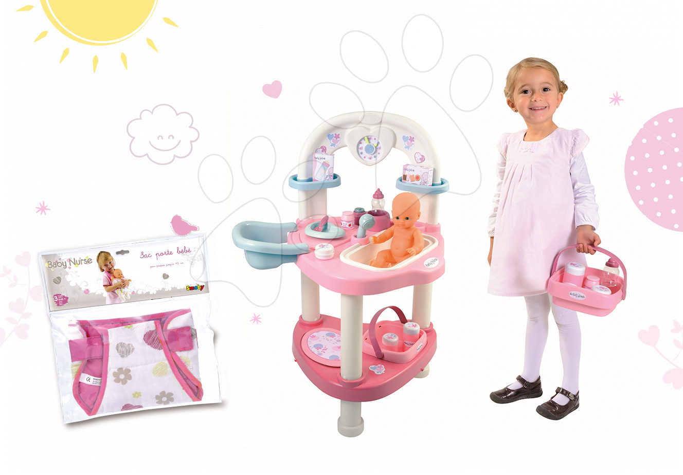 Domčeky pre bábiky sety - Set prebaľovací stôl pre bábiku Baby Nurse Smoby a nosič klokanka pre bábiku