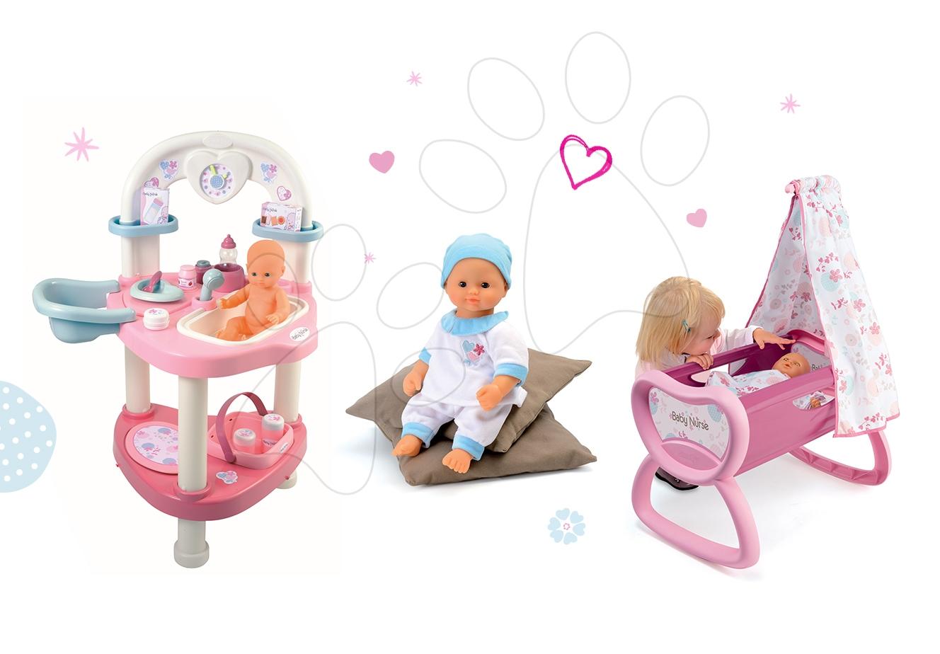 Domčeky pre bábiky sety - Set prebaľovací stôl pre bábiku Baby Nurse Srdiečko Smoby kolíska s baldachýnom a bábika v dupačkách 32 cm