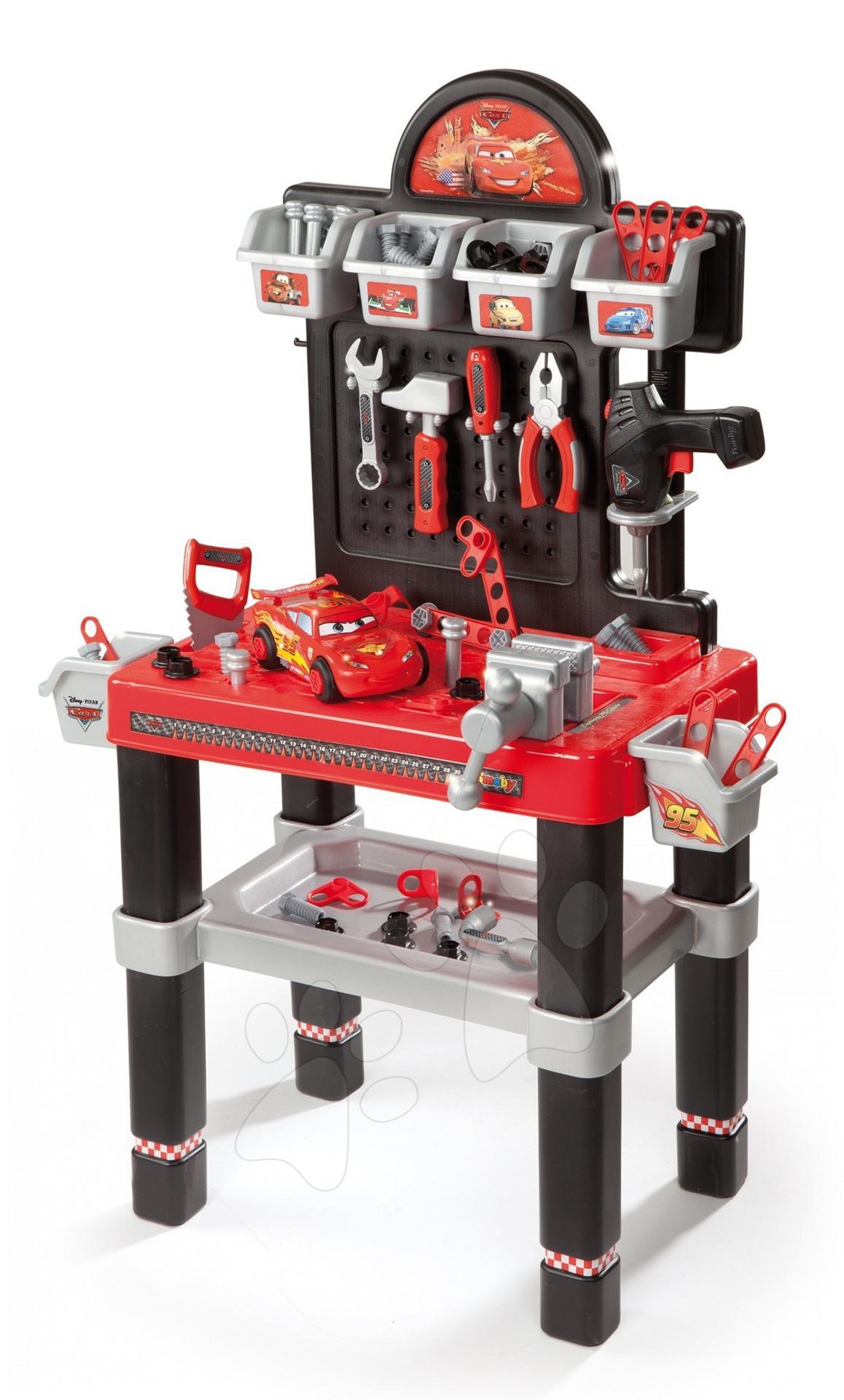 Staré položky - Pracovný stôl Autá Smoby s mechanickou vŕtačkou, autom a 80 doplnkami