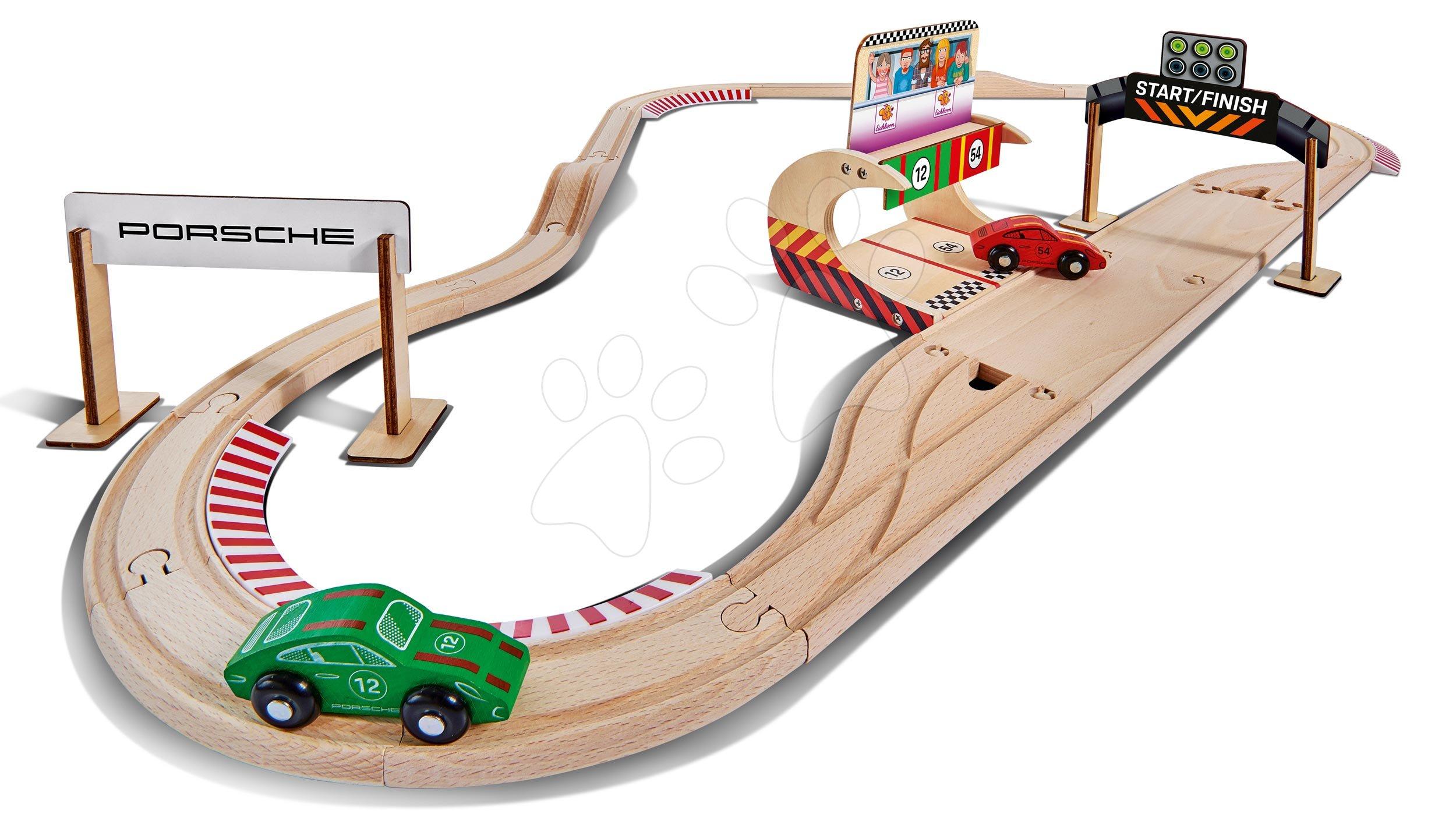 Fa autópálya Porsche Racing Set Eichhorn pit stoppal  és 2 versenyautóval 350 cm hosszú 31 darabos