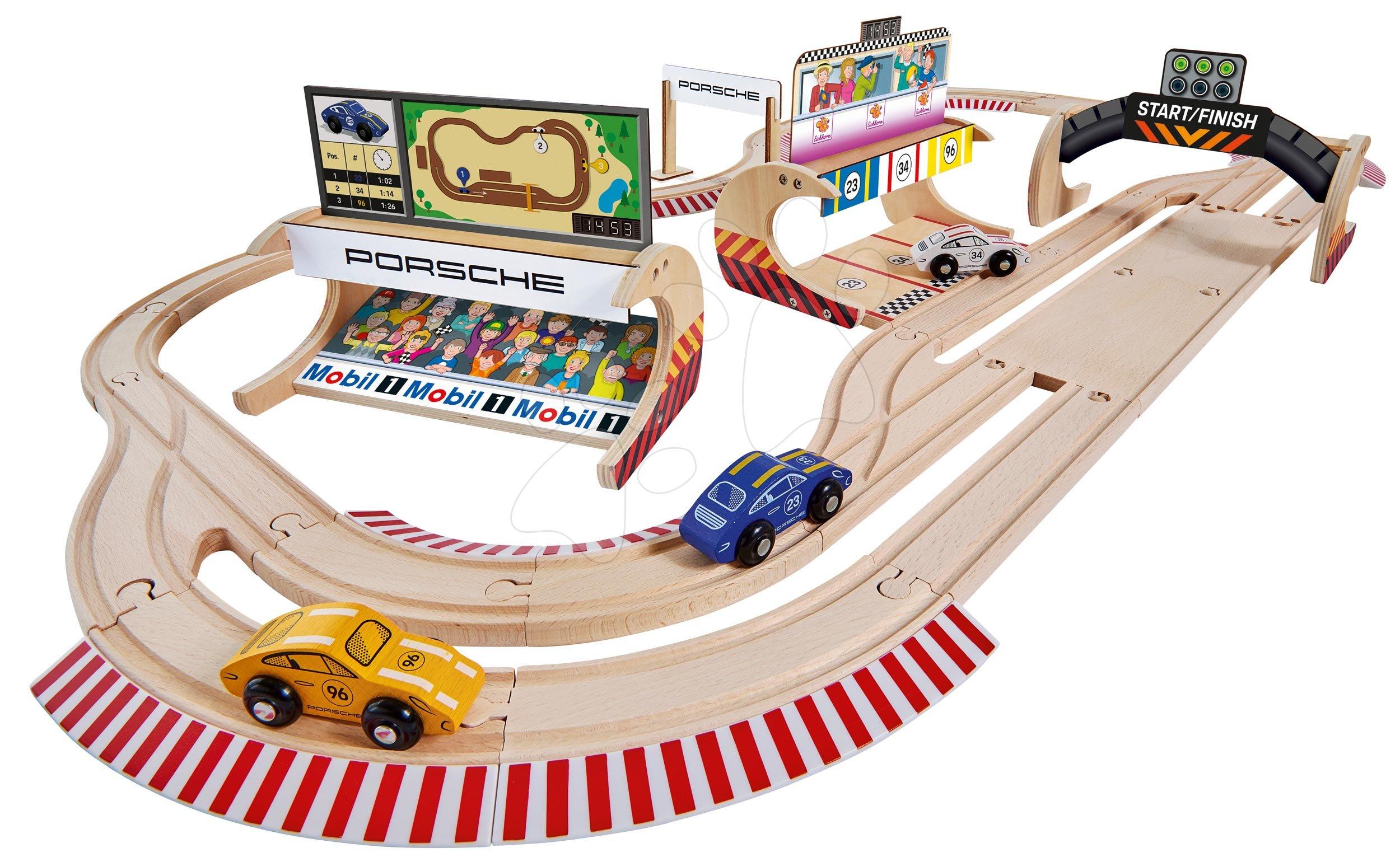 Pistă de mașini din lemn Porsche Racing Set Big Eichhorn pistă dublă și pit stop cu 3 mașini de curse 600 cm lungime 53 piese de la 3 ani