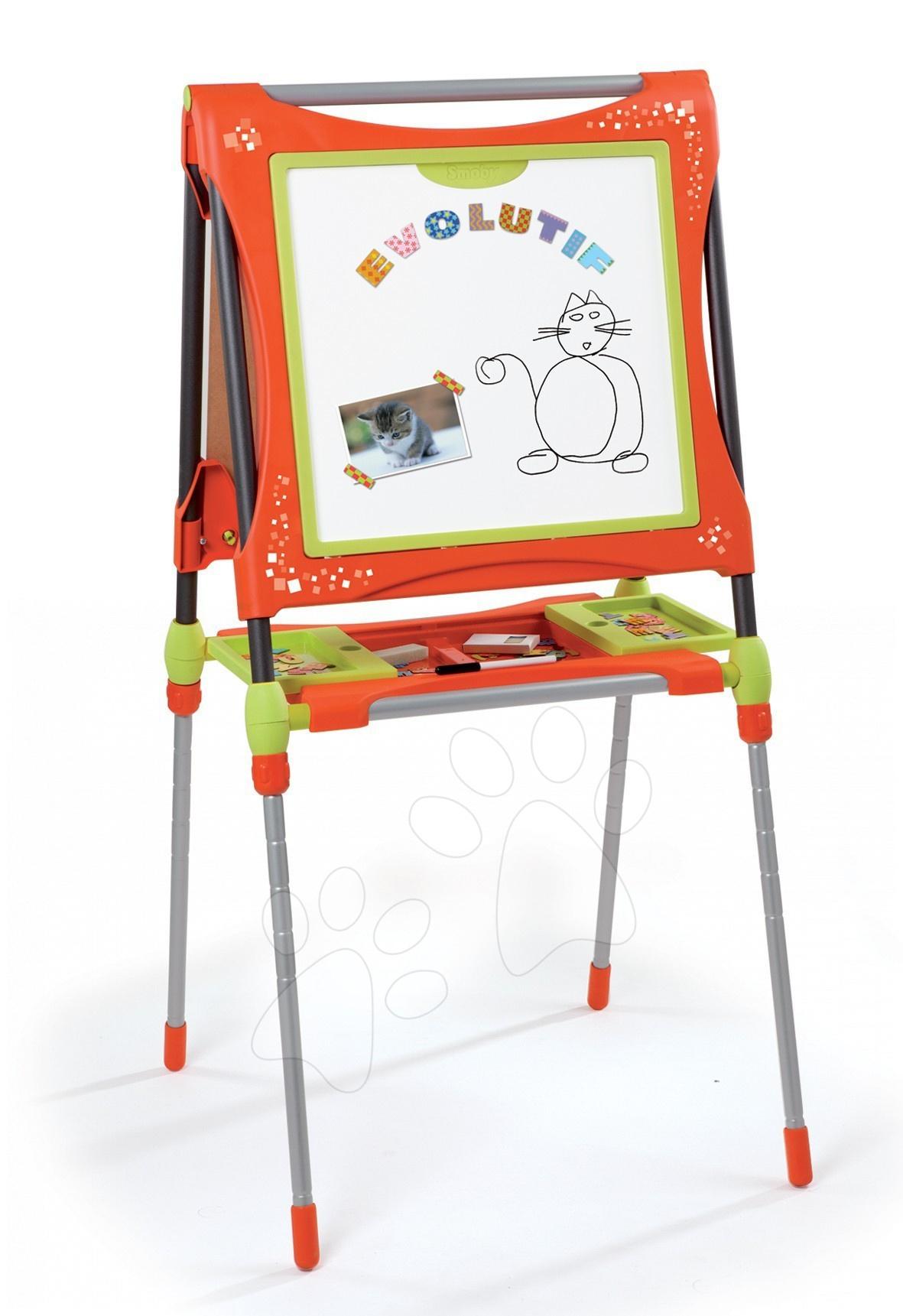 Staré položky - Školní magnetická tabule Smoby oboustranná, polohovatelná s kovovou konstrukcí a 61 doplňky oranžovo-zelená