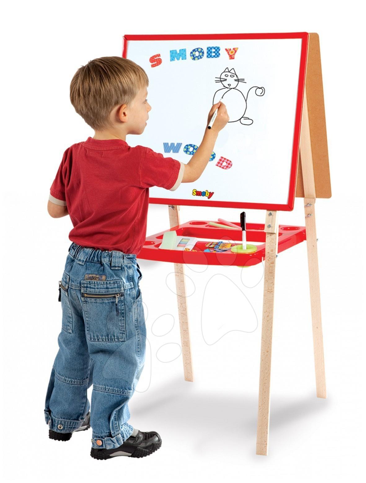 Školní tabule - Tabule dřevěná na kreslení Smoby 100 cm vysoká a 60 doplňků