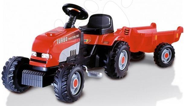 Detské šliapacie vozidlá - Šliapací traktor Rx Bull Turbo Injection Smoby s prívesom červený
