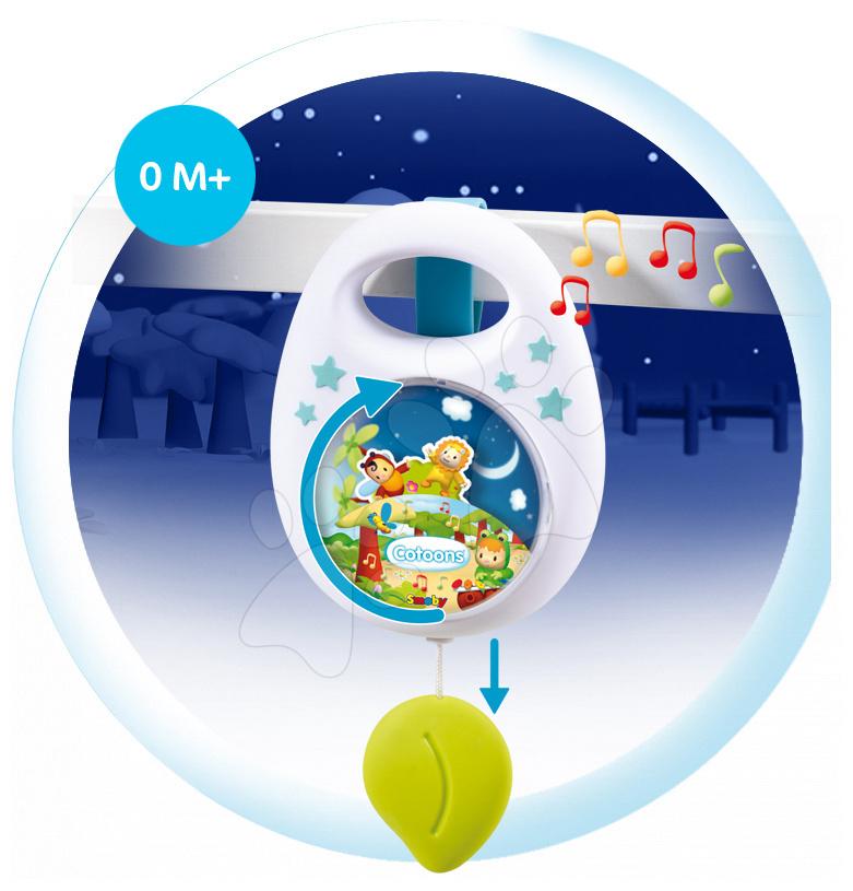 Hračky nad postieľku - Hudobná skrinka do postieľky Cotoons Smoby pre najmenších modrá