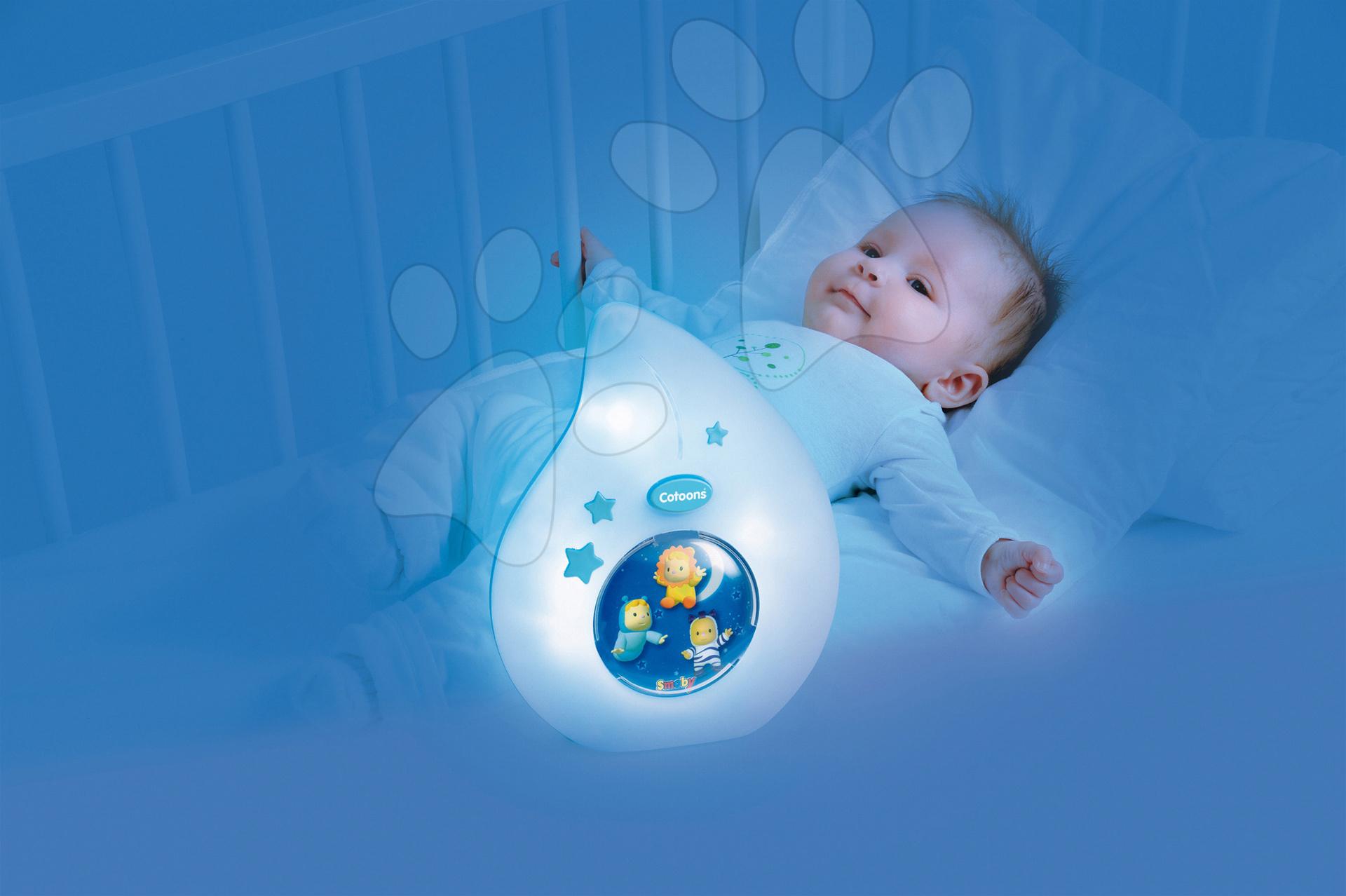 Hračky nad postieľku - Nočné svetlo do postieľky Cotoons Smoby pre najmenších modré