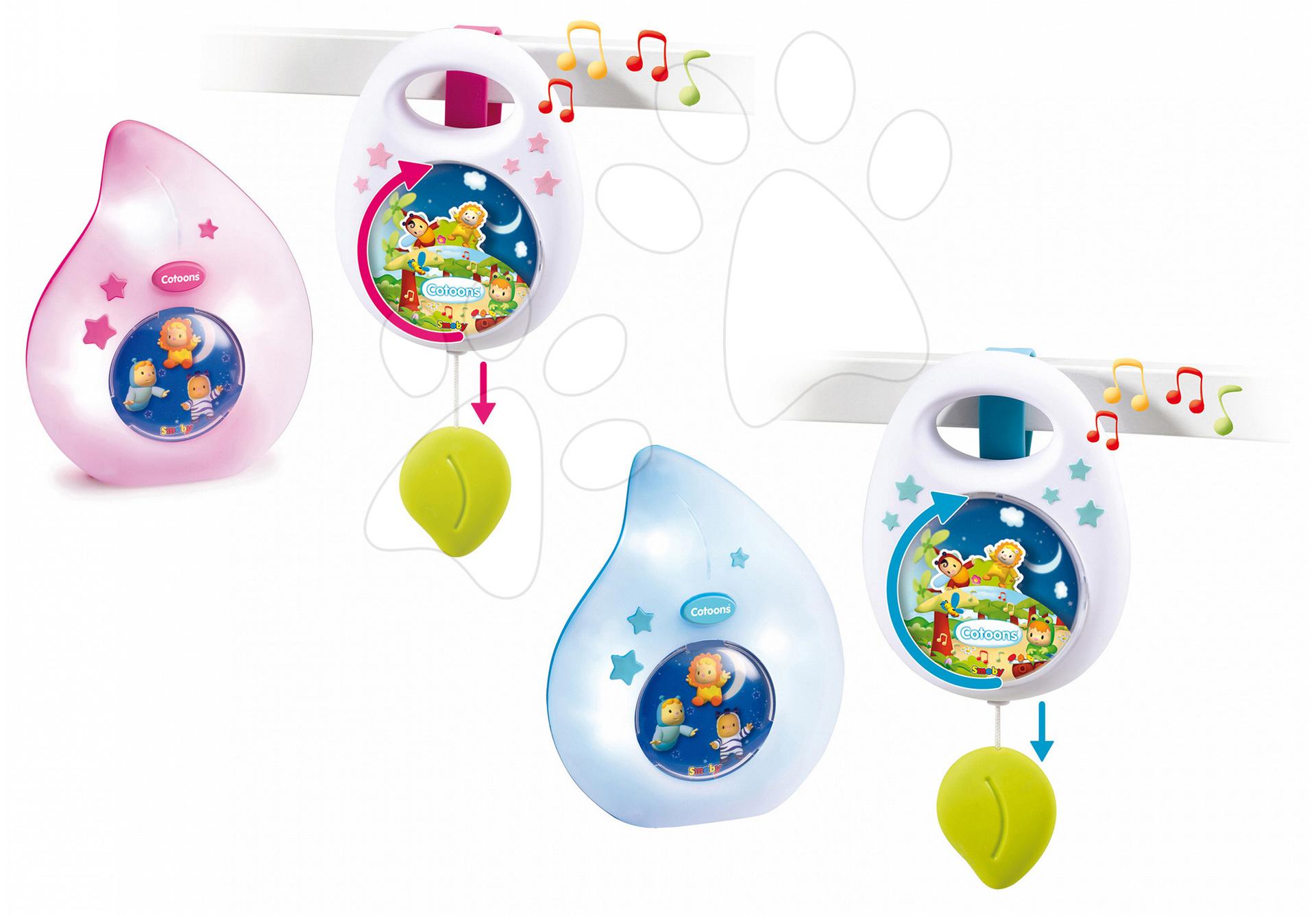 Hračky pre bábätká - Sada do postieľky Smoby nočné svetlo a hudobná skrinka pre najmenších modrá/ružová