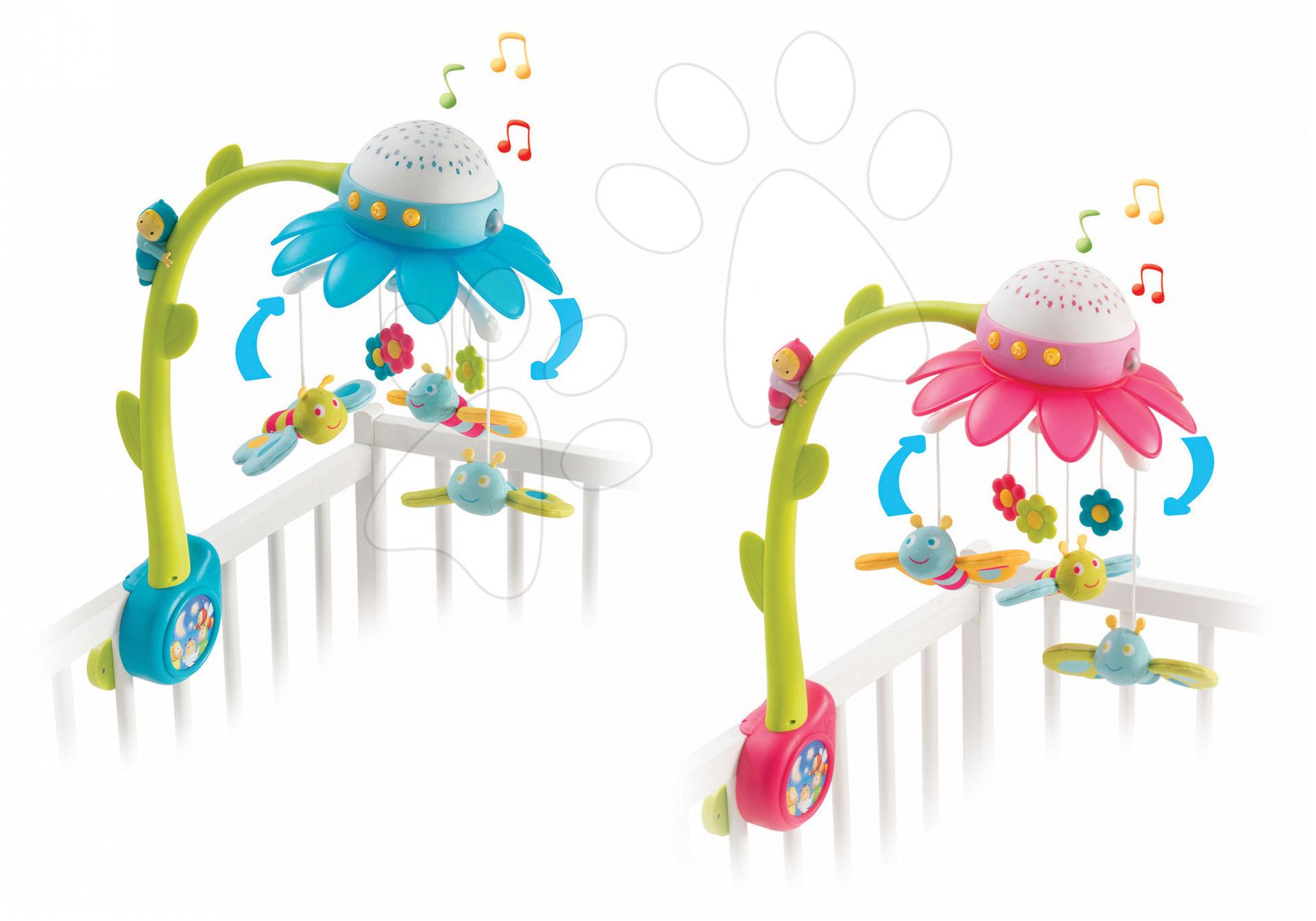 Kolotoč nad dětskou postýlku Květina Cotoons Smoby s hudbou a světlem modrý/růžový od 0 měsíců