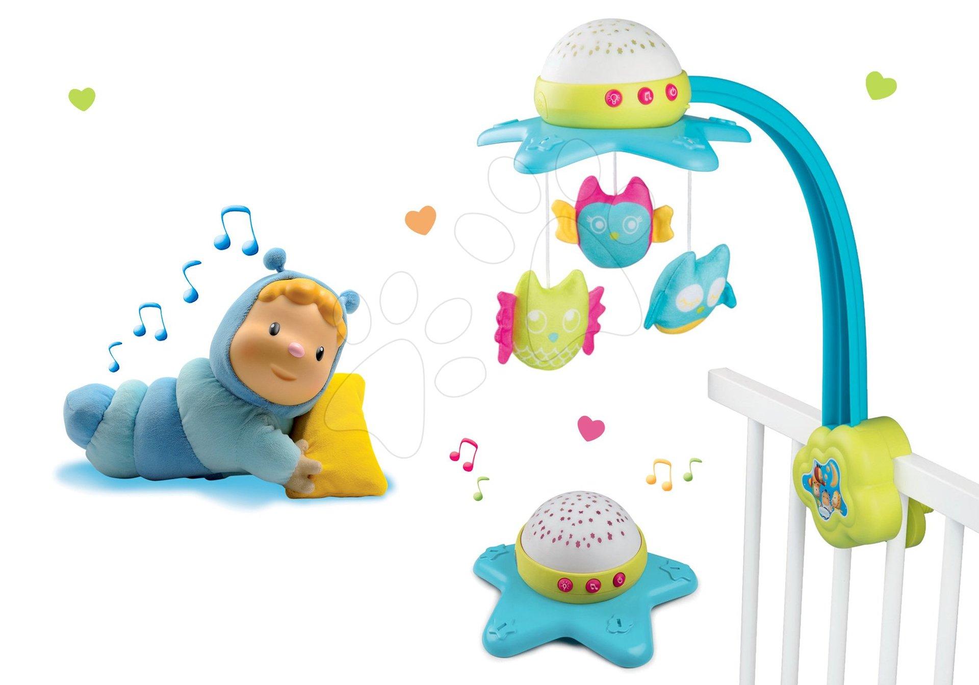 Komplet vrtiljak za posteljico Star Cotoons 2v1 Smoby s sovicami in svetleča figurica Chowing za posteljico