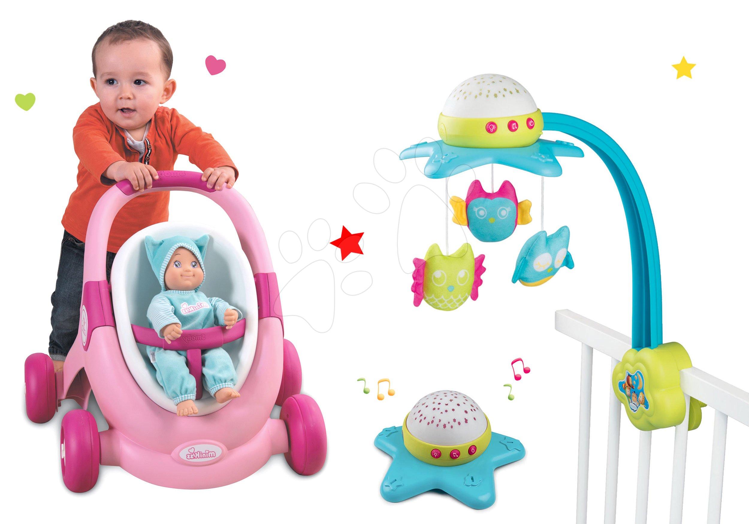 Smoby set kolotoč nad postieľku Star Cotoons 2v1 so sovičkami a kočík pre bábiku a chodítko 2v1 MiniKiss 110116-7