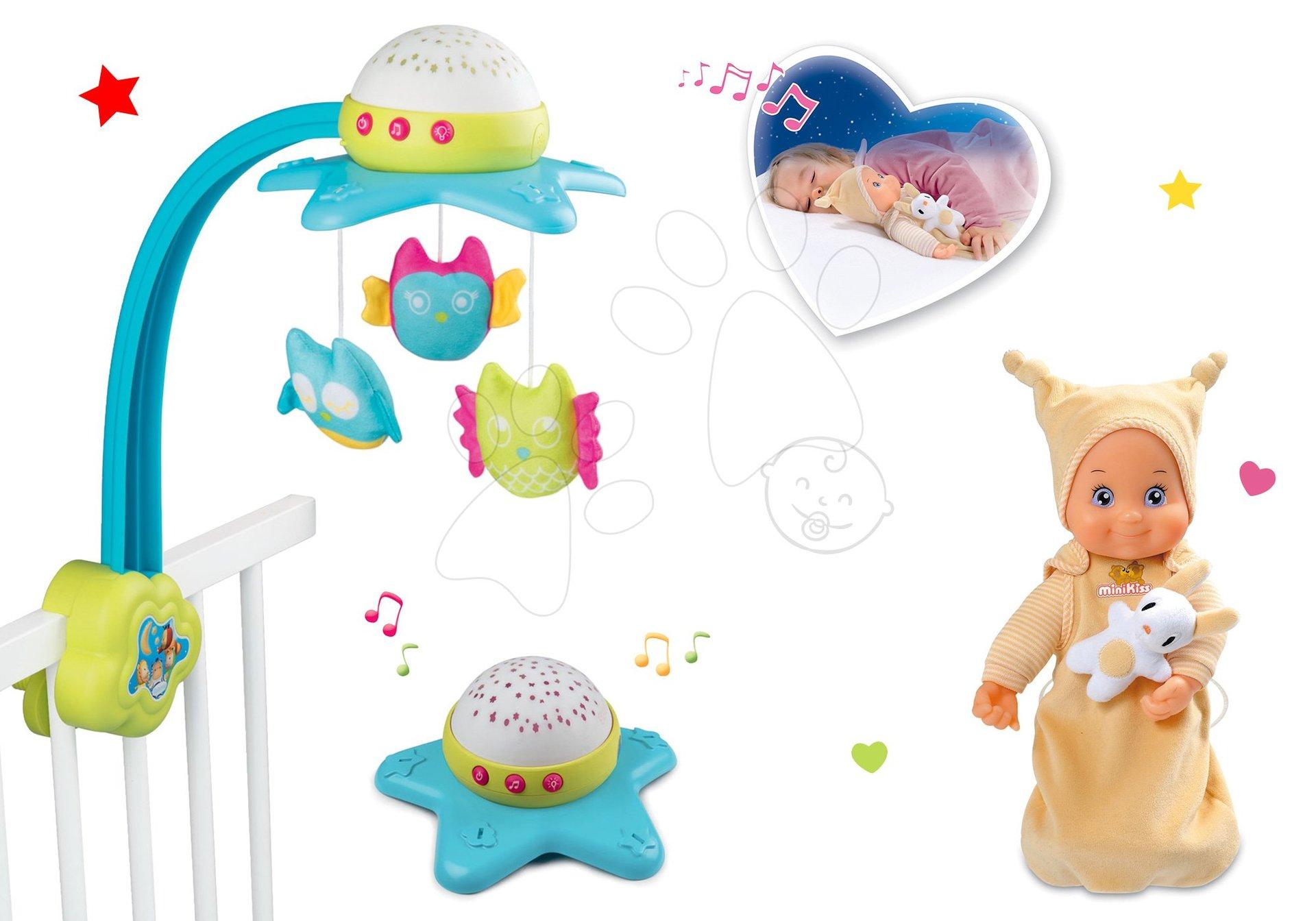 Hračky pro miminka - Set kolotoč nad postýlku Star Cotoons 2v1 Smoby se sovičkami a moje první panenka MiniKiss do postýlky