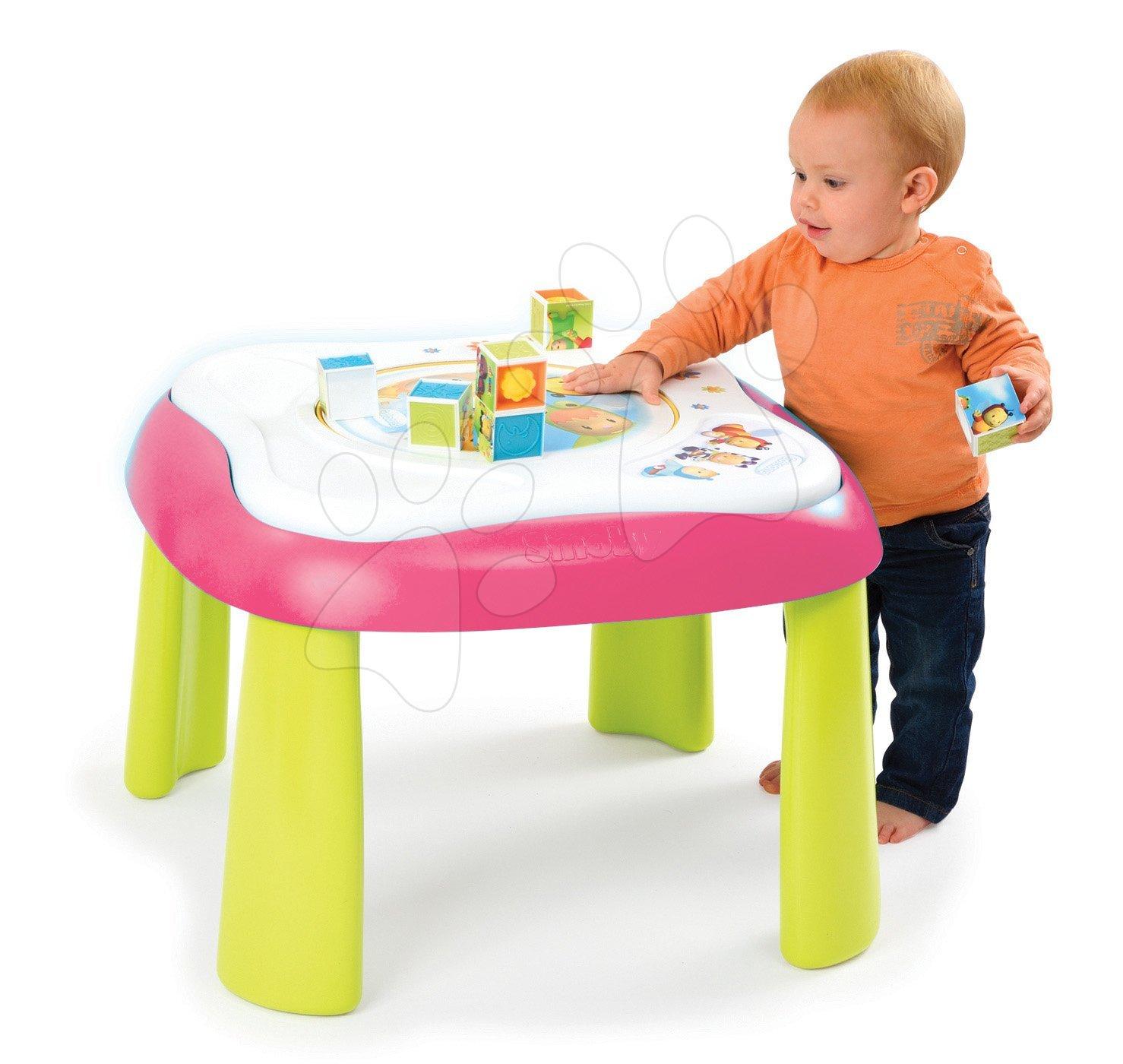 Interaktívne hudobné stoly - Didaktický stolík Cotoons Youpi Smoby multifunkčný modrý/ružový od 6 mes
