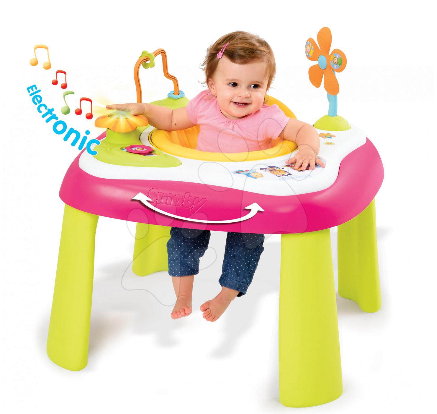 Interaktívne hudobné stoly - Didaktický stolík Cotoons Youpi Smoby multifunkčný ružový od 6 mes