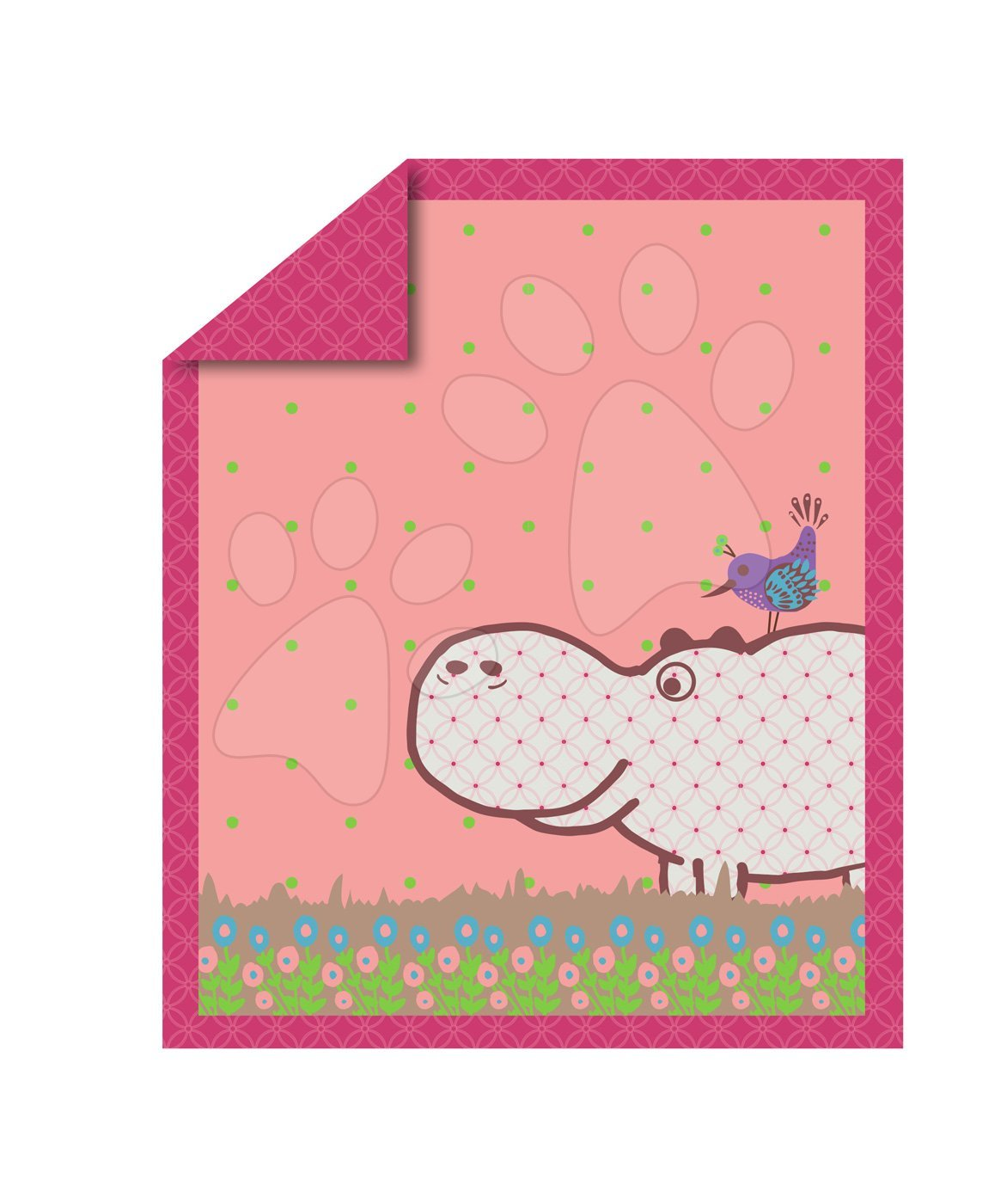 Paplón Sateen Hippo toTs smarTrike Hroch 100 % bavlna vzhľad saténu ružový od 0 mesiacov