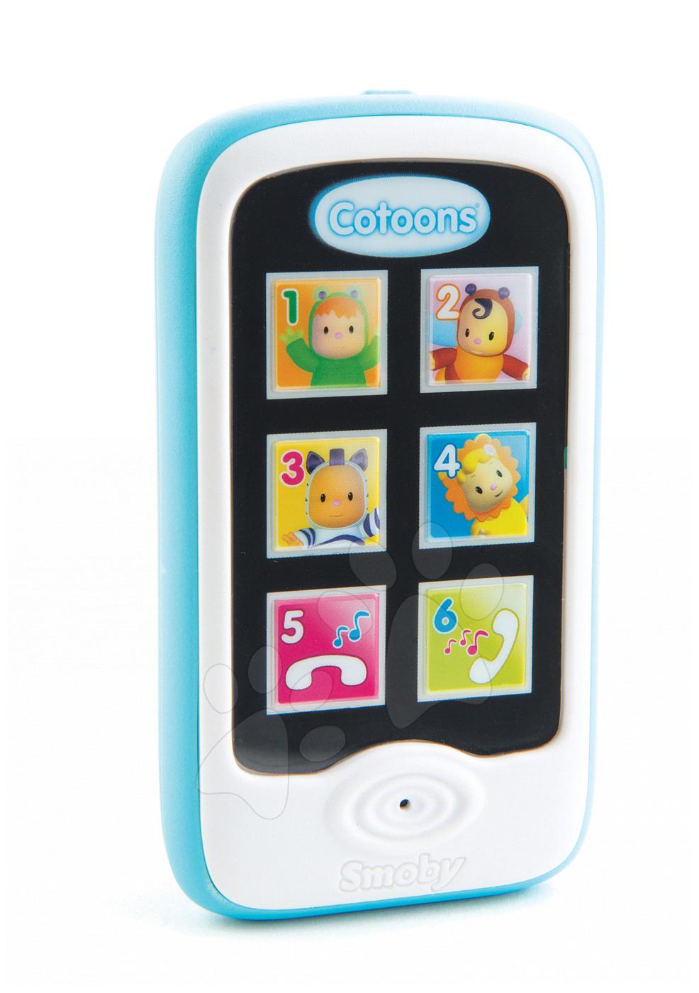 Telefon Cotoons Smoby smartphone s funkcemi nahrávání a přehrávání modrý od 6 měsíců