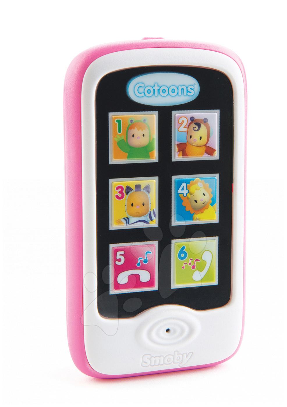 Pametni telefon Cotoons Smoby elektronski s funkcijami snemanja in predvajanja rožnat od 6 mes