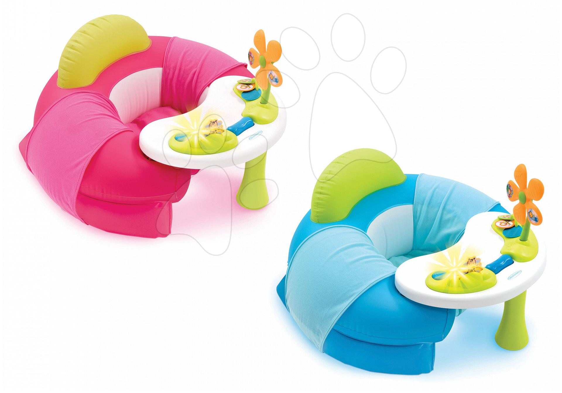Nafukovacie kreslo Cotoons Cosy Seat Smoby s didaktickým stolom modré/ružové od 6 mes