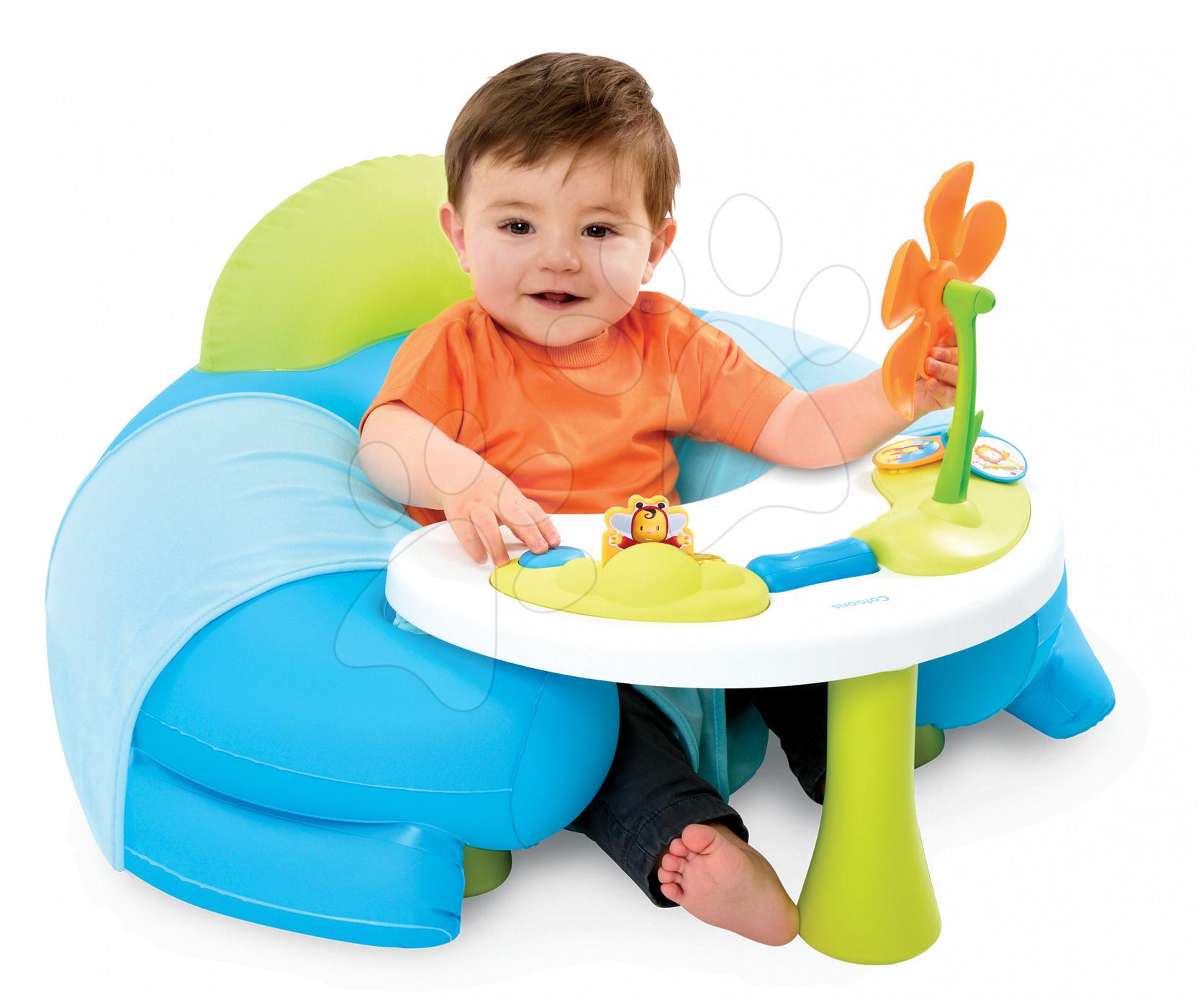 Detské sedačky - Nafukovacie kreslo Cotoons Smoby s didaktickým stolom modré od 6 mes