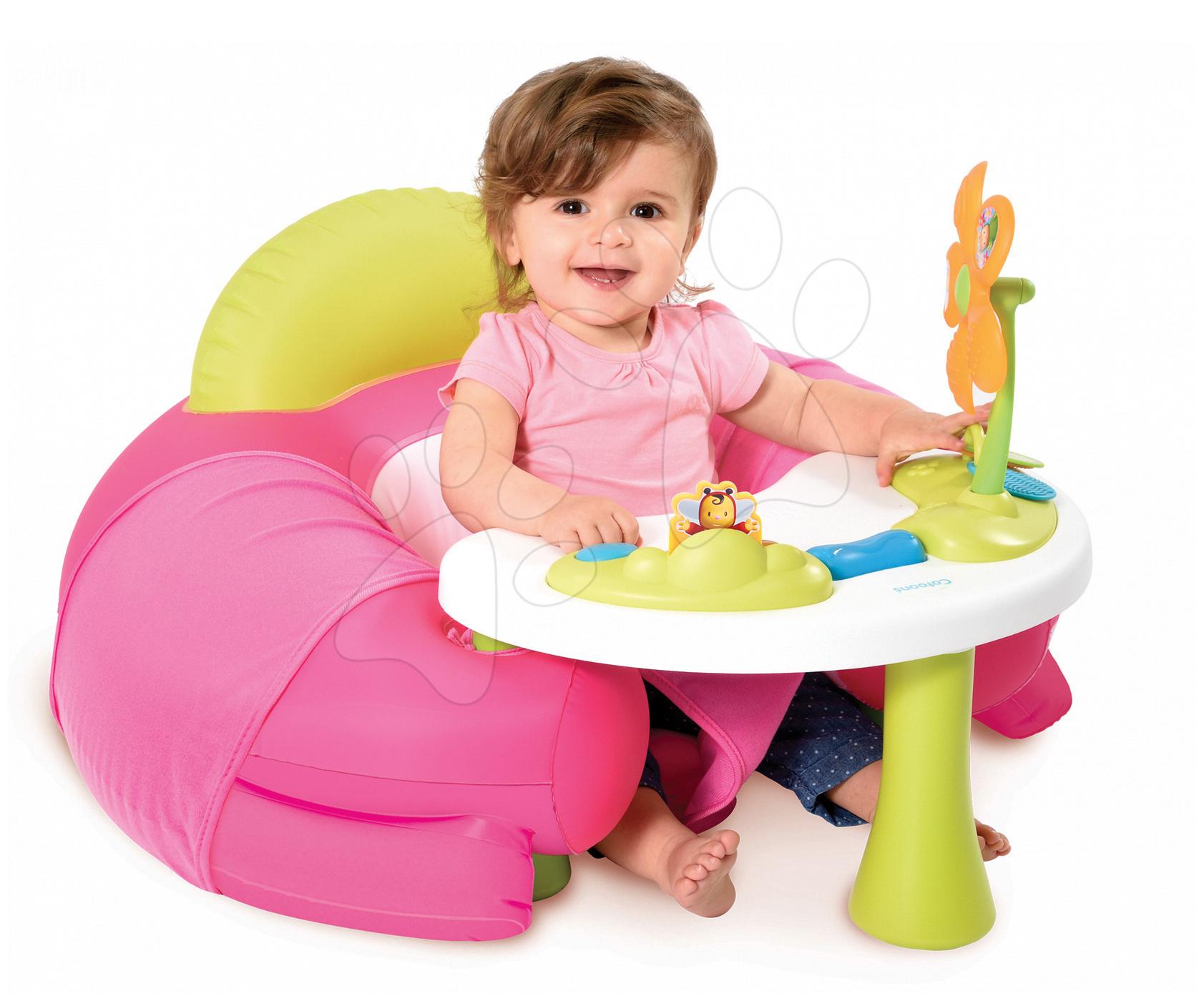 Detské sedačky - Nafukovacie kreslo Cotoons Smoby s didaktickým stolom ružové od 6 mes
