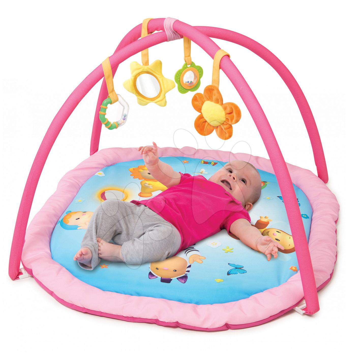 Hrazdičky a hrací deky - Hrací deka s hrazdou Cotoons Activity Smoby s chrastítkem, kousátkem, zrcadlem a plyšovou květinkou růžová
