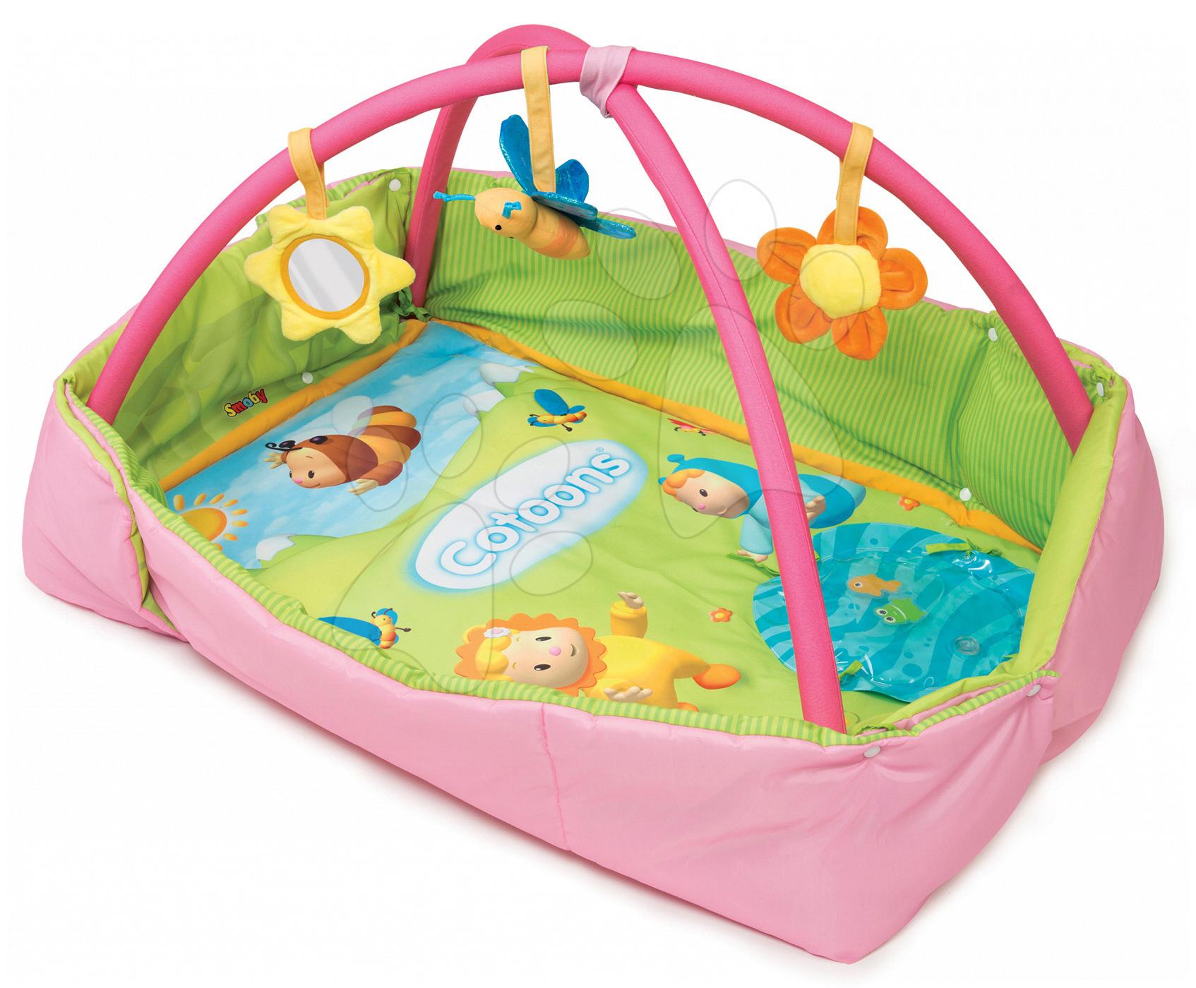 Hrazdičky a hrací deky - Hrací deka s hrazdou Cotoons Discovery Smoby s hnízdem, chrastítky a rybníkem pro nejmenší růžová