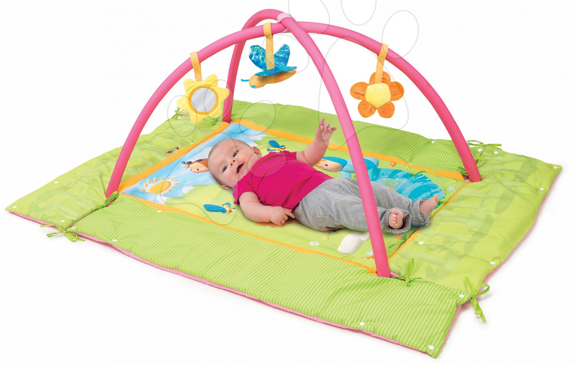 Hrazdičky a hrací deky - Hrací deka Cotoons Discovery Smoby s hrazdou, hnízdem, chrastítky a rybníkem pro nejmenší růžová
