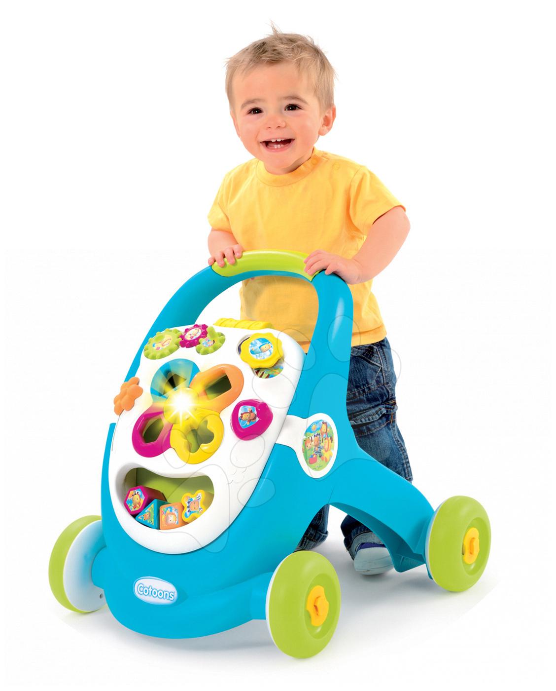 Detské chodítka - Didaktické chodítko Cotoons Smoby so zvukom a svetlom modré od 12 mes