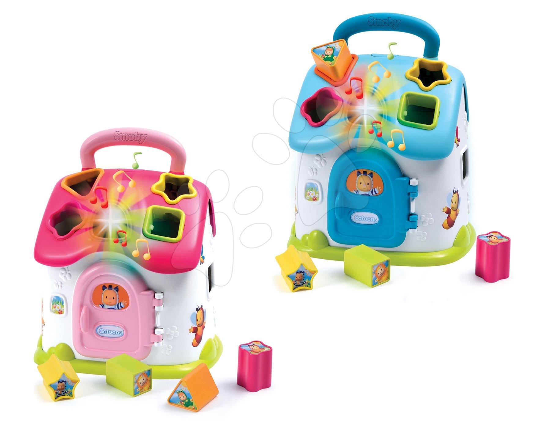 Didaktična hišica Cotoons Smoby z oblikami in lučkami ter zvoki modra/rožnata od 12 mes