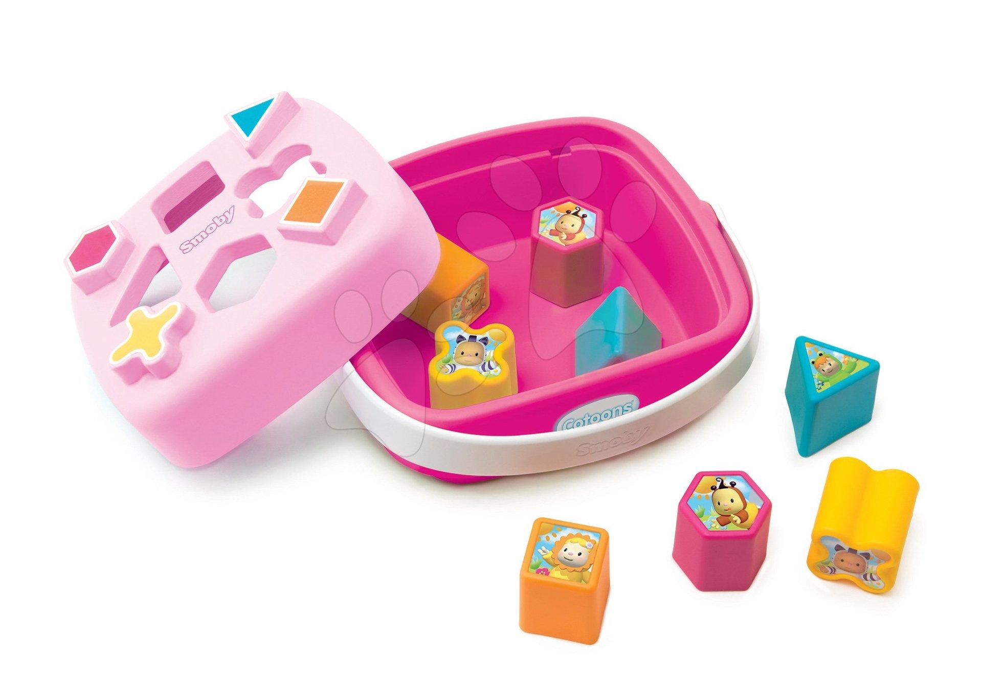 Didaktický košík Cotoons Smoby vkládací s kostkami různých tvarů růžový od 12 měsíců