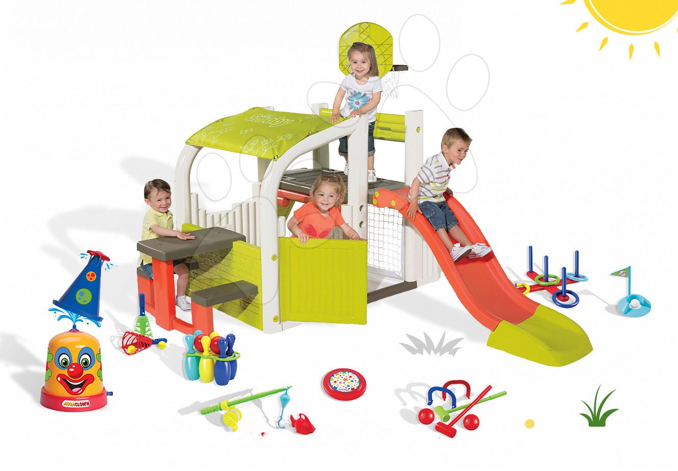 Set hrací centrum pro děti Fun Center Smoby se skluzavkou dlouhou 150 cm, vodní klaun a 7 sportovních her od 2 let