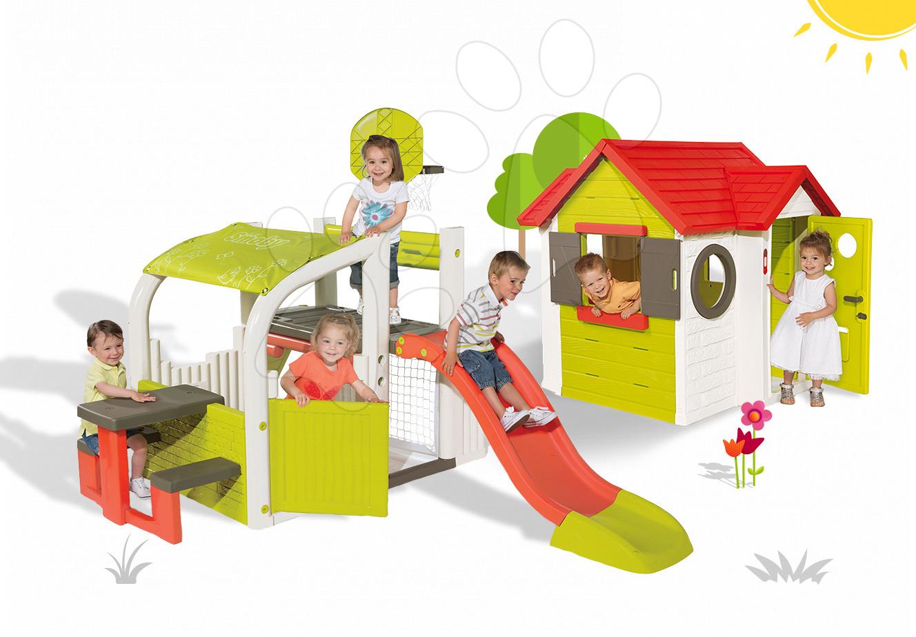 Set hrací centrum Fun Center Smoby se skluzavkou dlouhou 150 cm a domeček My House od 2 let
