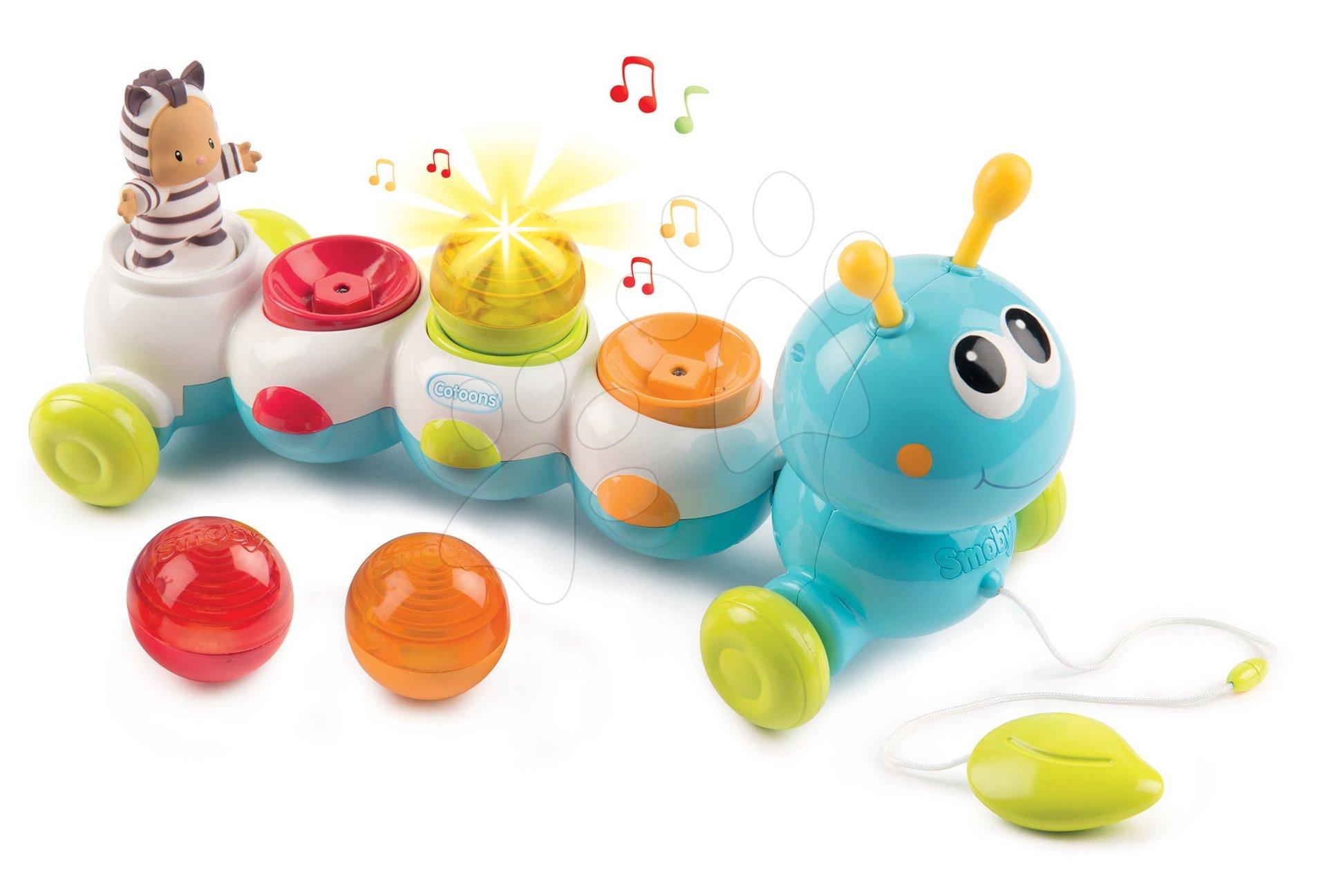 Igrače za vlečenje - Gosenica za vlečenje Caterpillar Cotoons Smoby elektronska z lučko in melodijami od 12 mes