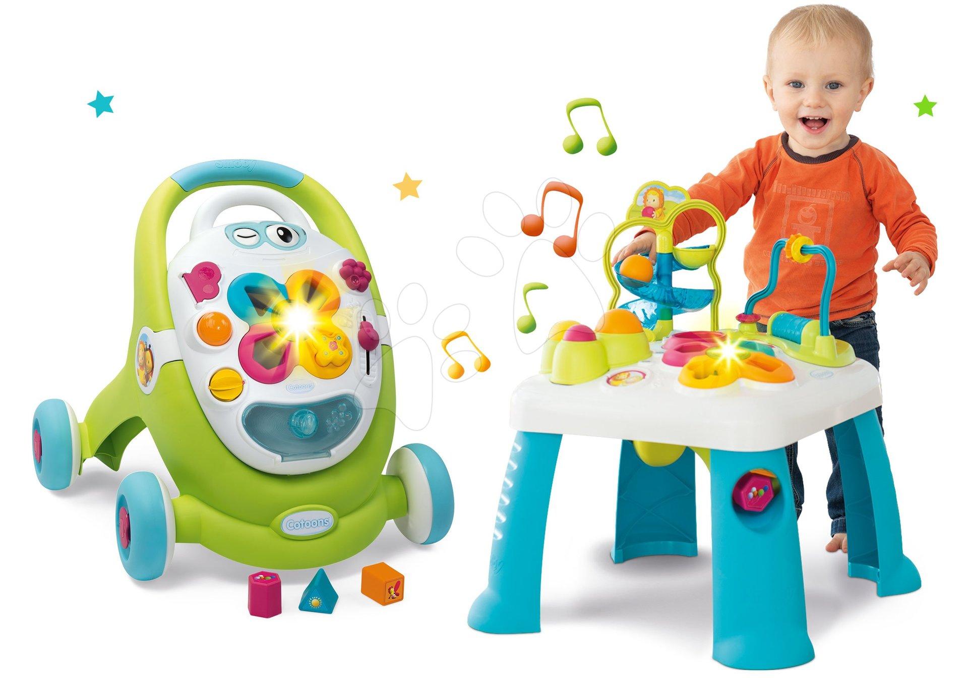 Interaktivní hudební stoly - Set didaktický stůl Activity Table Cotoons Smoby se zvukem světlem a chodítko s interaktivním kufříkem Trott