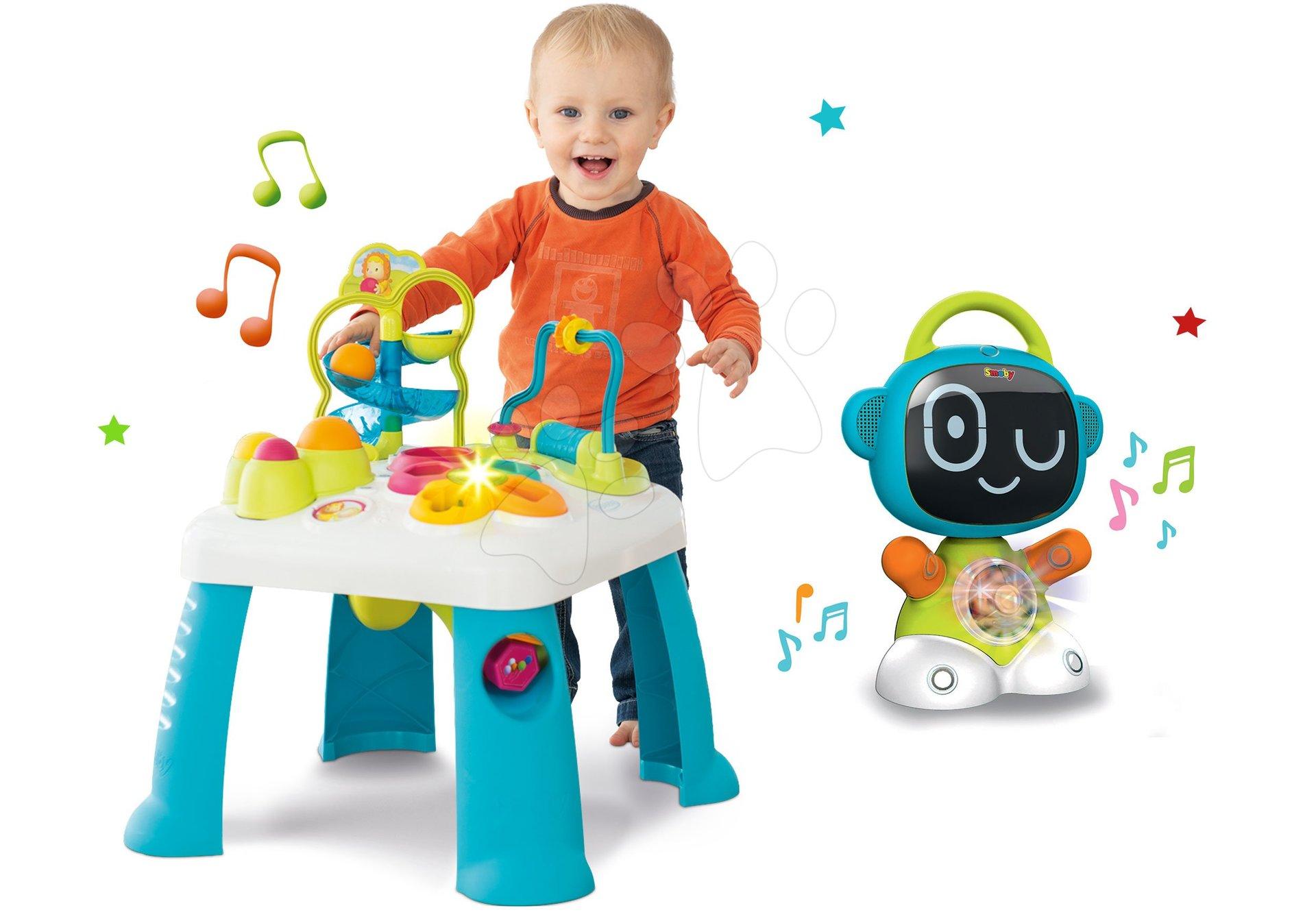 Interaktivní hudební stoly - Set didaktický stůl Activity Table Cotoons Smoby se zvukem světlem a interaktivní Robot TIC Smart s 3 naučnými hrami