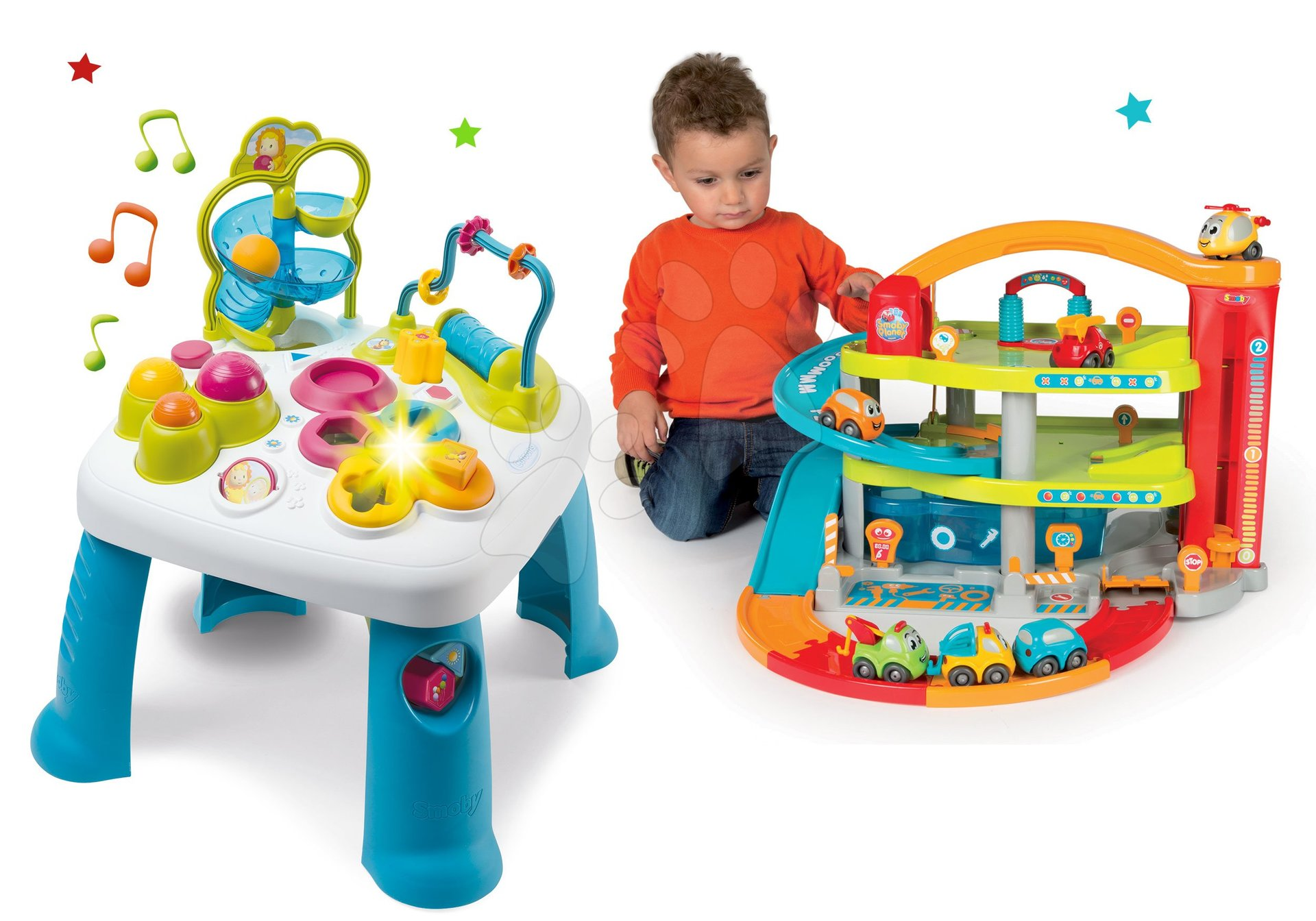 Set didaktický stůl Activity Table Cotoons Smoby se zvukem světlem a dvoupatrová garáž Vroom Planet Grand