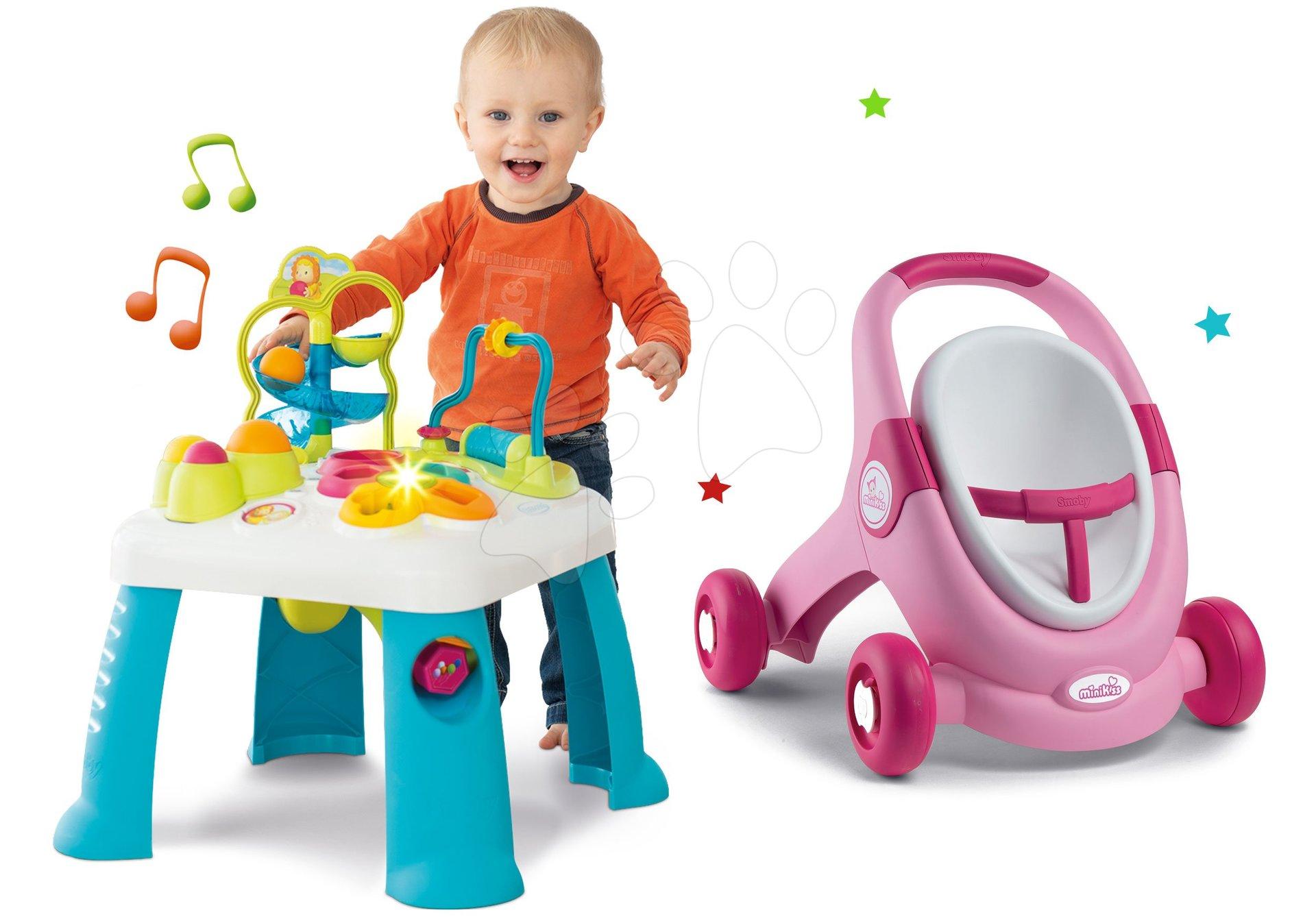 Set didaktický stôl Activity Table Cotoons Smoby so zvukom svetlom a chodítko a kočík s autosedačkou MiniKiss 3v1 s brzdou