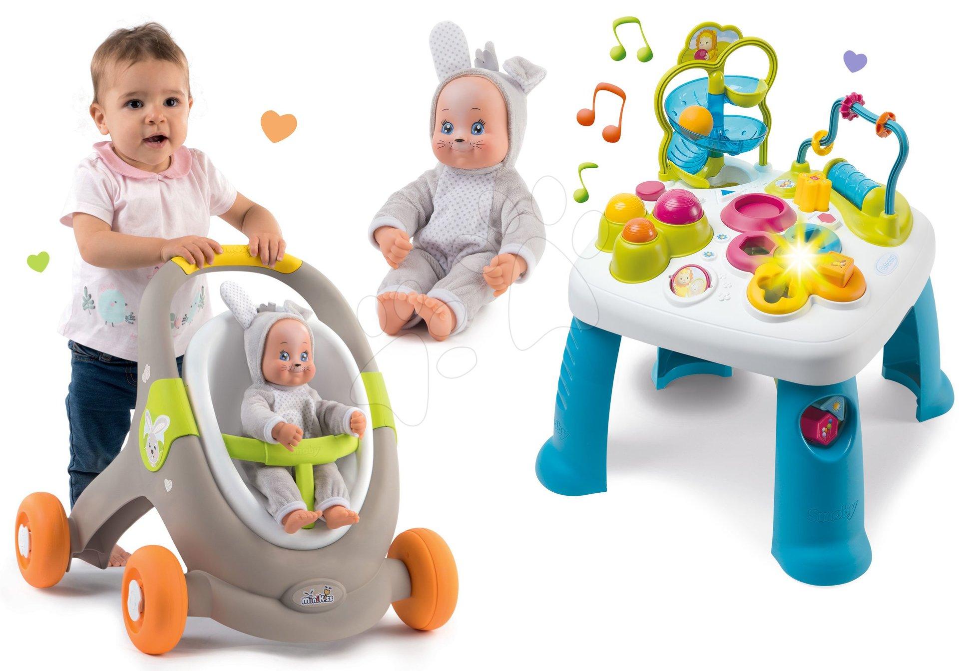 Set didaktický stôl Activity Table Cotoons Smoby so zvukom, svetlom a chodítko a kočík s autosedačkou MiniKiss 3v1 Lesné zvieratká so zajačikom