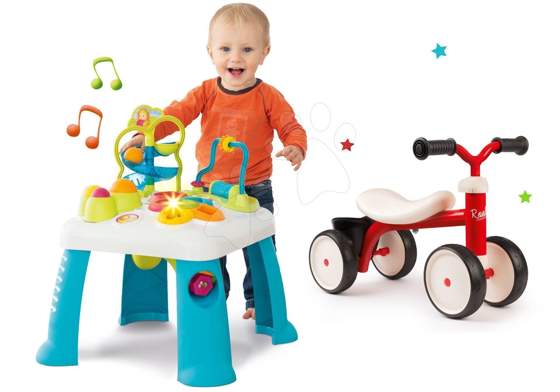 Set didaktický stôl Activity Table Cotoons Smoby so zvukom, svetlom a odrážadlo Rookie s otočnými kolieskami