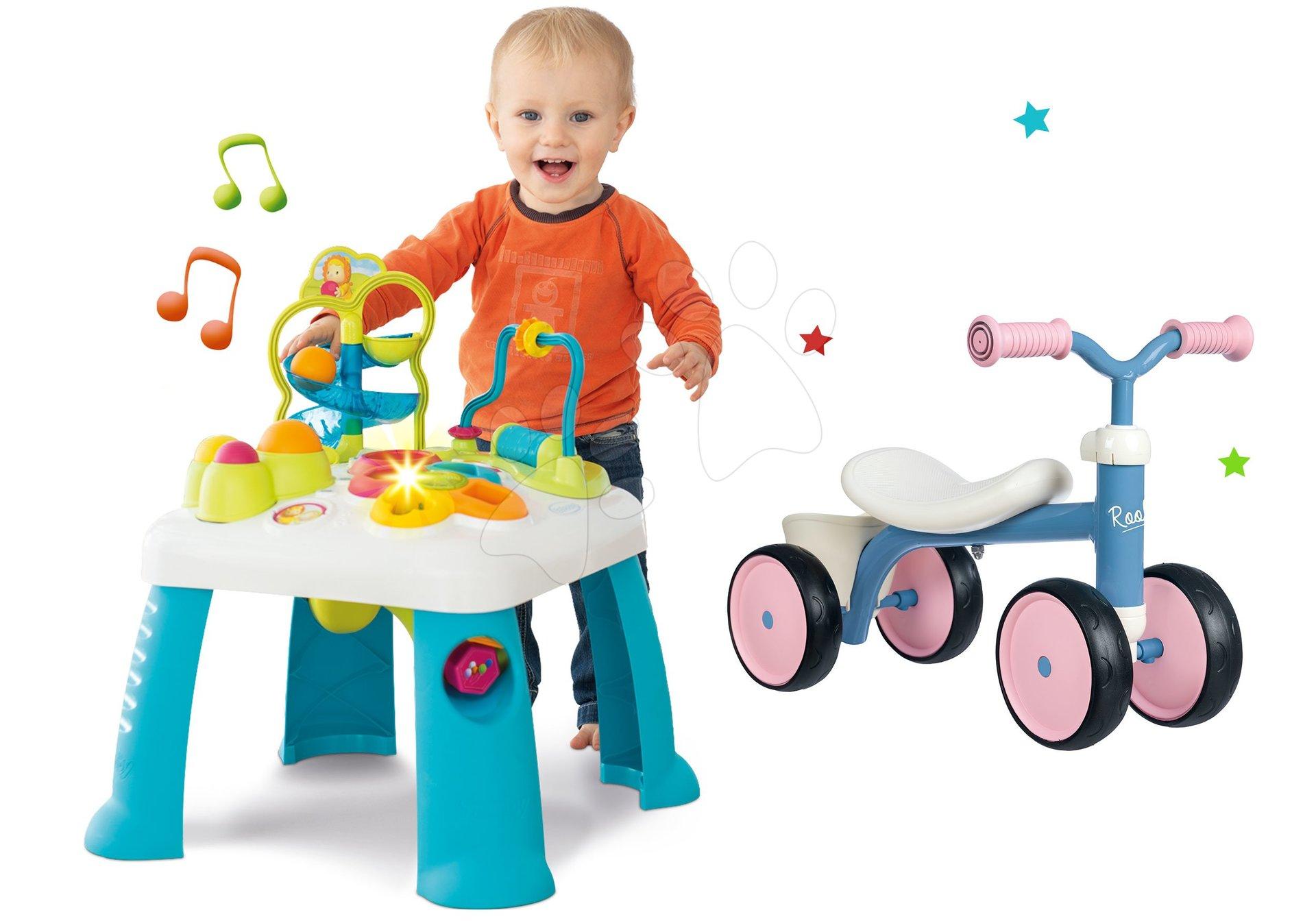 Set didaktický stôl Activity Table Cotoons Smoby so zvukom svetlom a odrážadlo Rookie s otočnými kolieskami