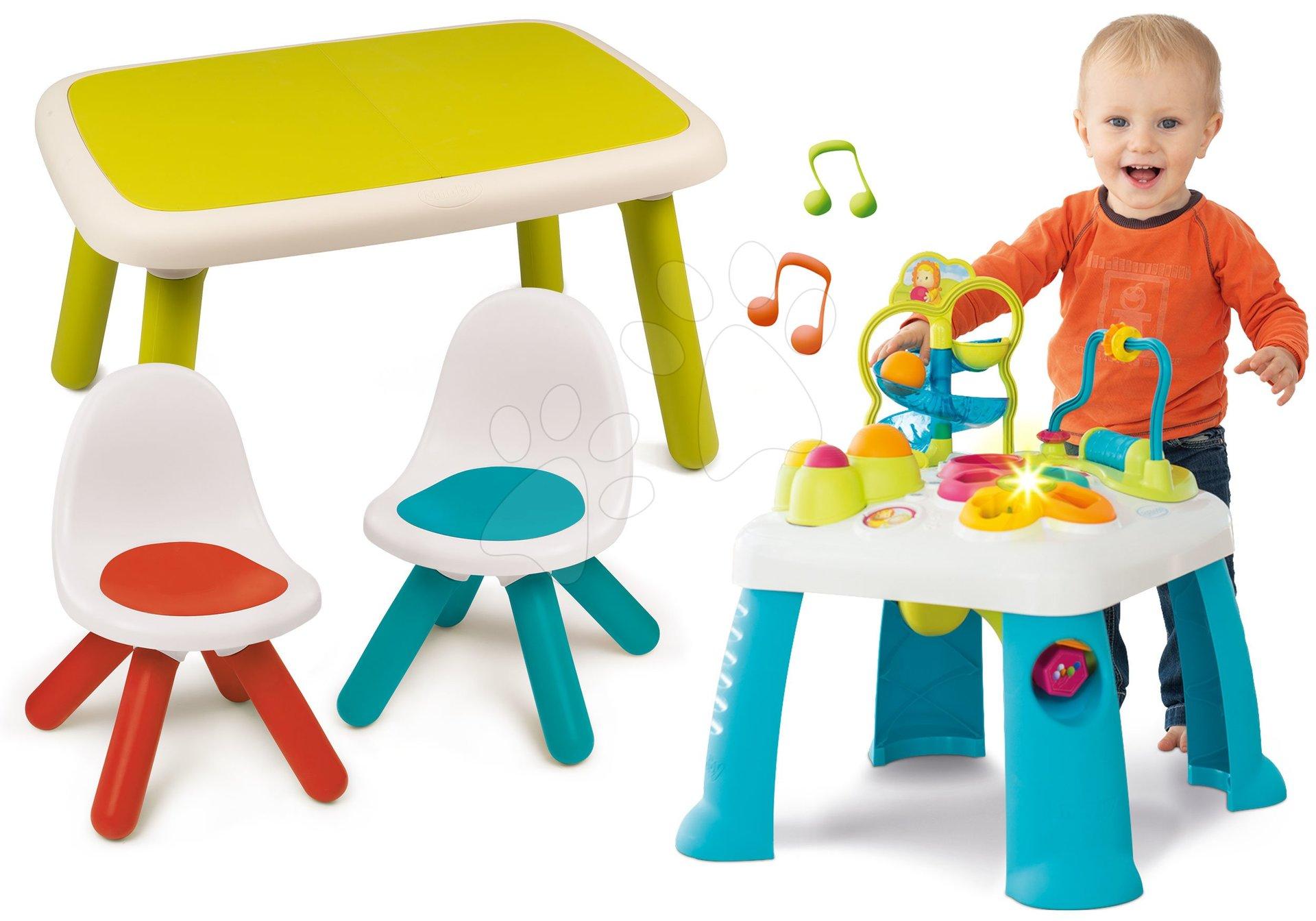 Set didaktický stôl Activity Table Cotoons Smoby so zvukom, svetlom a stôl s dvoma stoličkami Kid