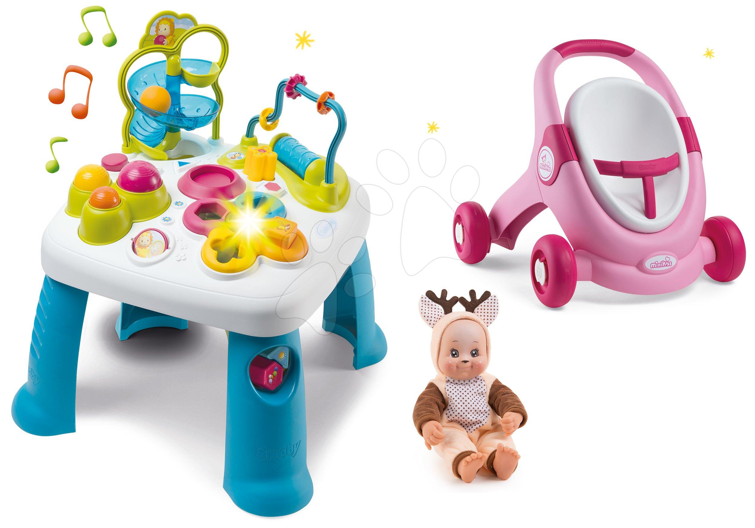 Smoby set didaktický stolík Cotoons a chodítko s kockami 211067-6 ružový